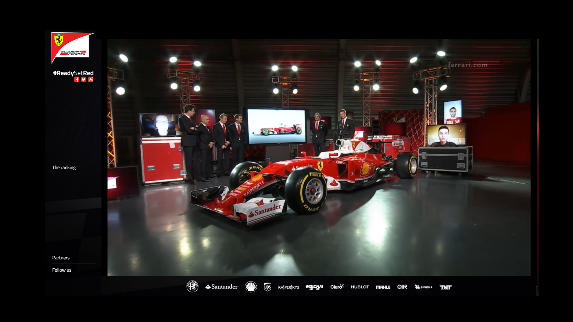 Team show via livestream Scuderia Ferrari ReadySetRed SF16-H F1 2016