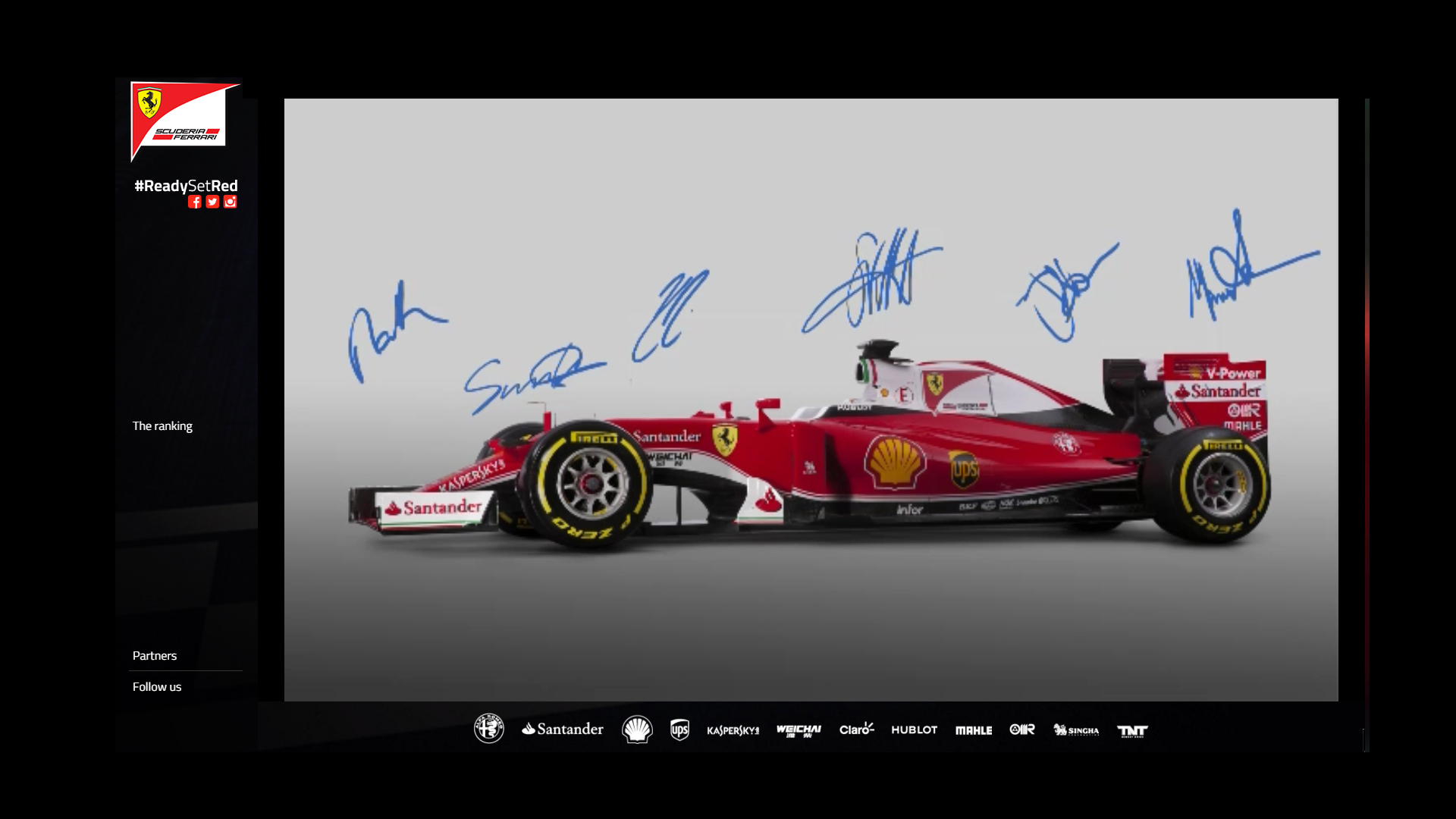 Team Signatures via livestream Scuderia Ferrari ReadySetRed SF16-H F1 2016