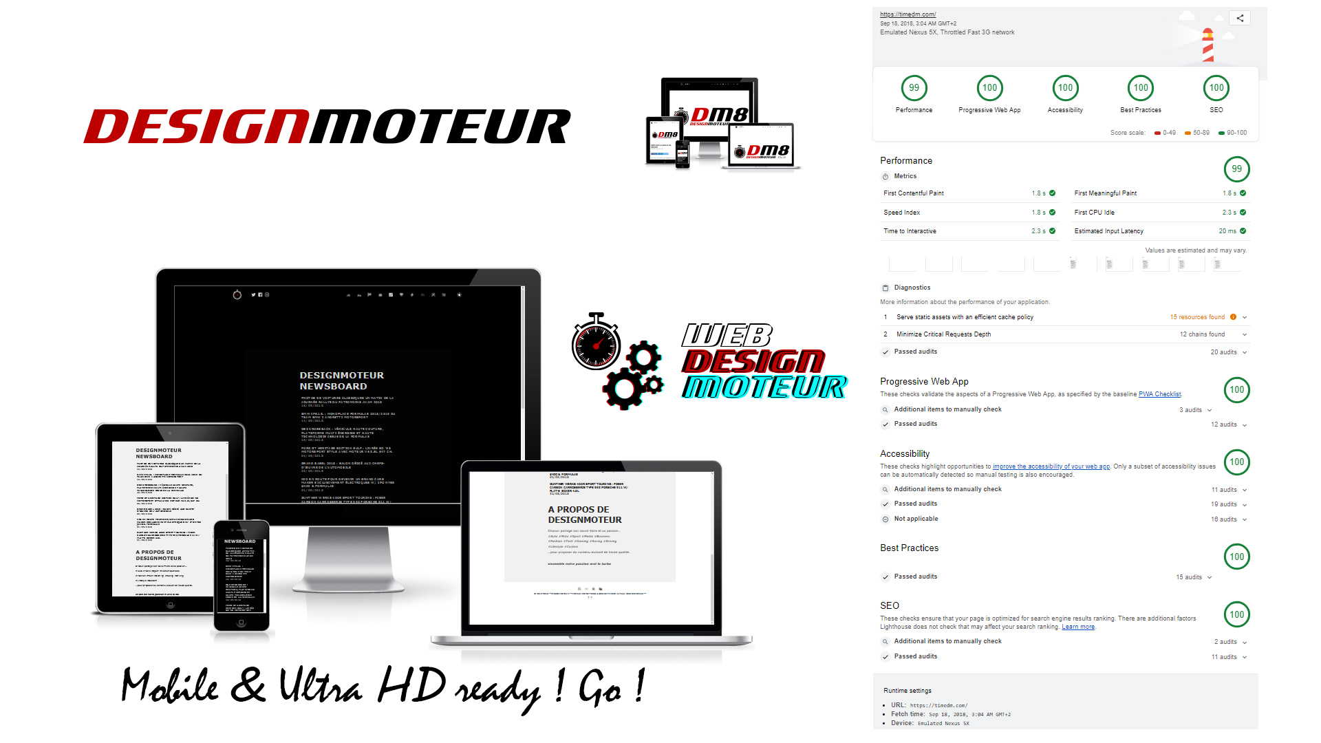 Site DESIGNMOTEUR dm8 - Web Performance - 2018 - screen homepage - RunTime Test - WEBDESIGNMOTEUR