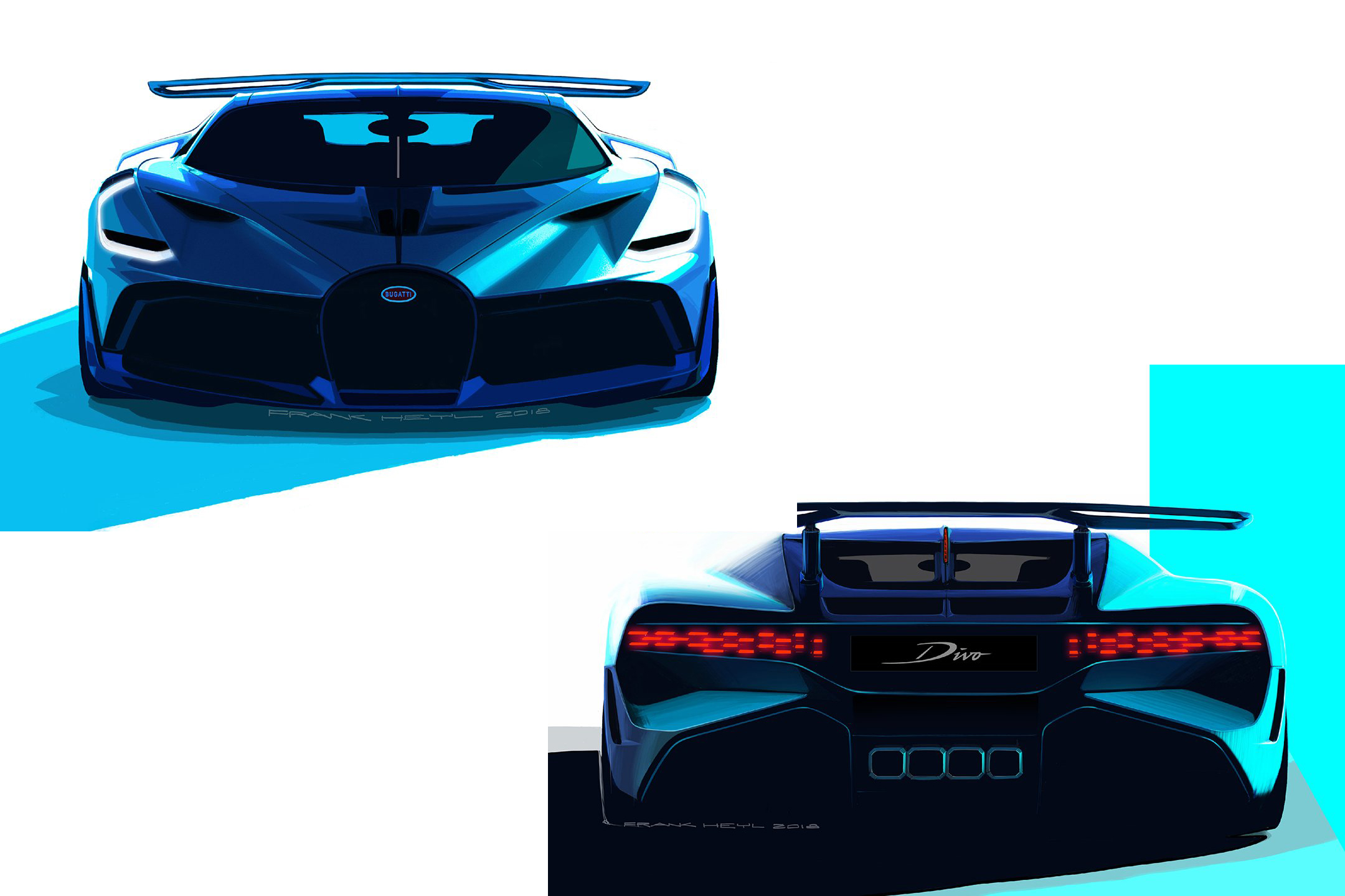 Bugatti Divo - 2018 - sketch design - front - rear