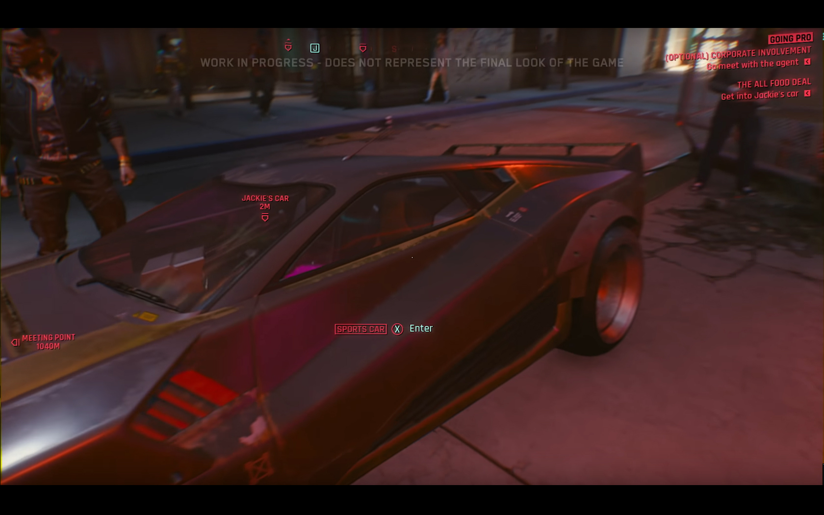 CD Projekt Red - Cyberpunk 2077 - video reveal gameplay - 2018 - screen - sports car QUADRA - side view