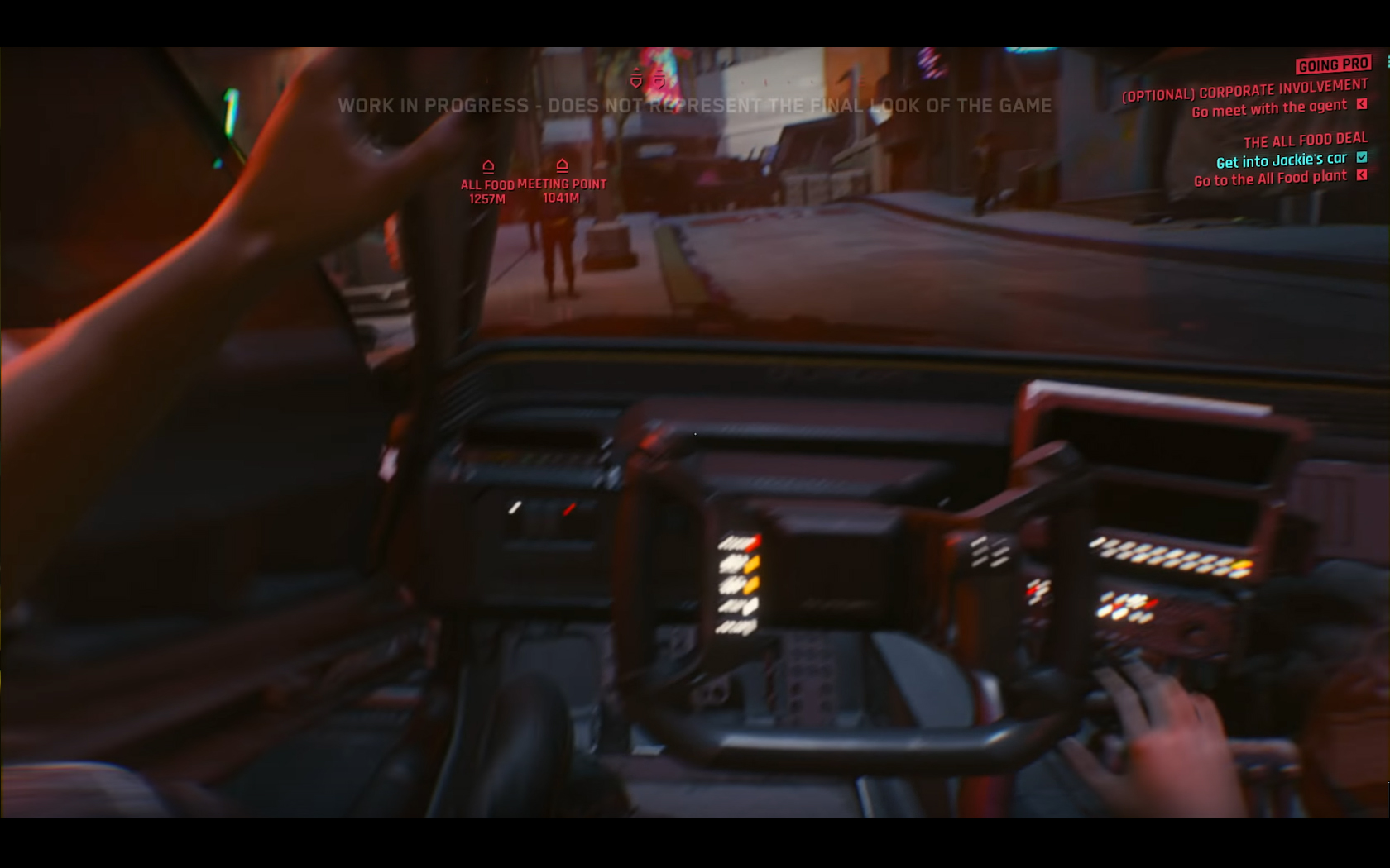 CD Projekt Red - Cyberpunk 2077 - video reveal gameplay - 2018 - screen - sports car QUADRA - onboard start