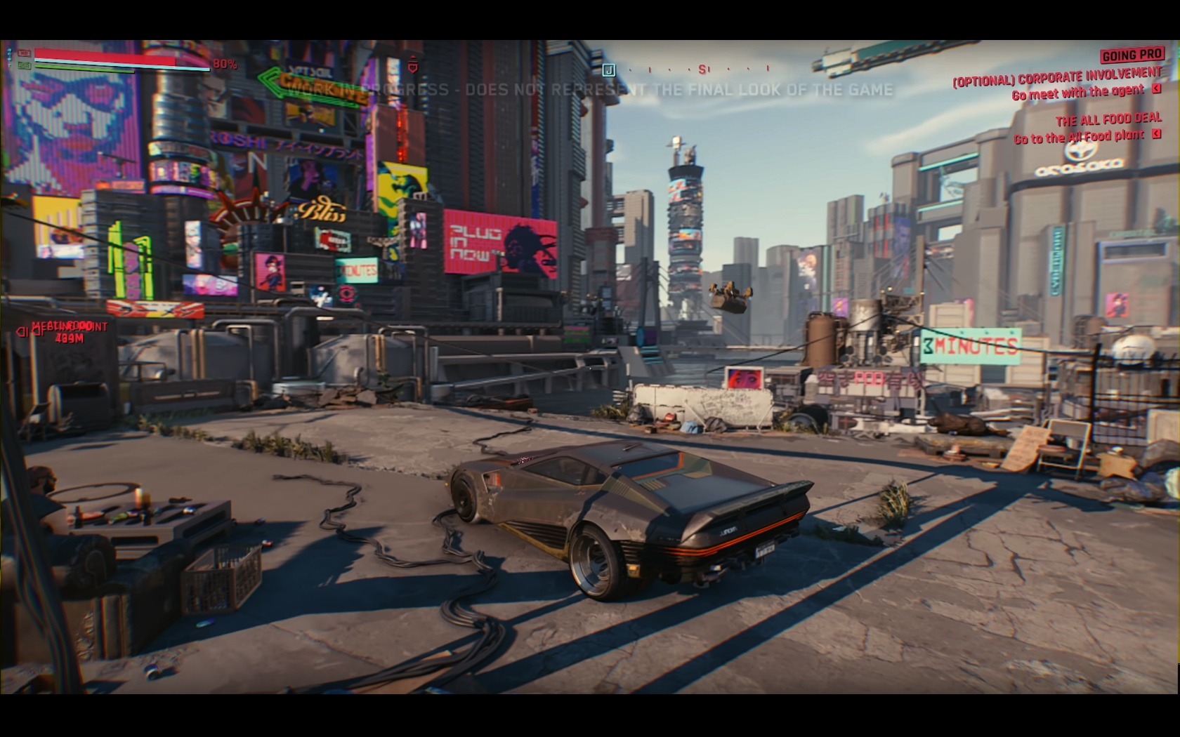 CD Projekt Red - Cyberpunk 2077 - video reveal gameplay - 2018 - screen - sports car QUADRA - city top view