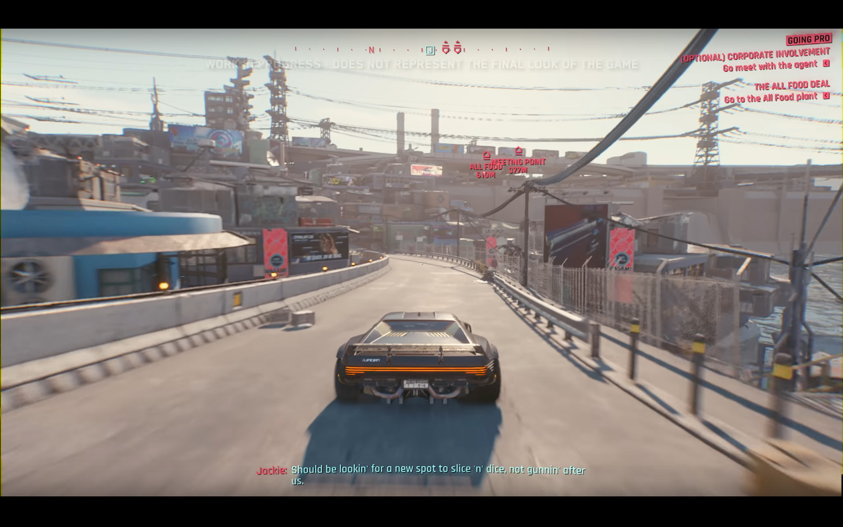 CD Projekt Red - Cyberpunk 2077 - video reveal gameplay - 2018 - screen - sports car QUADRA - road street