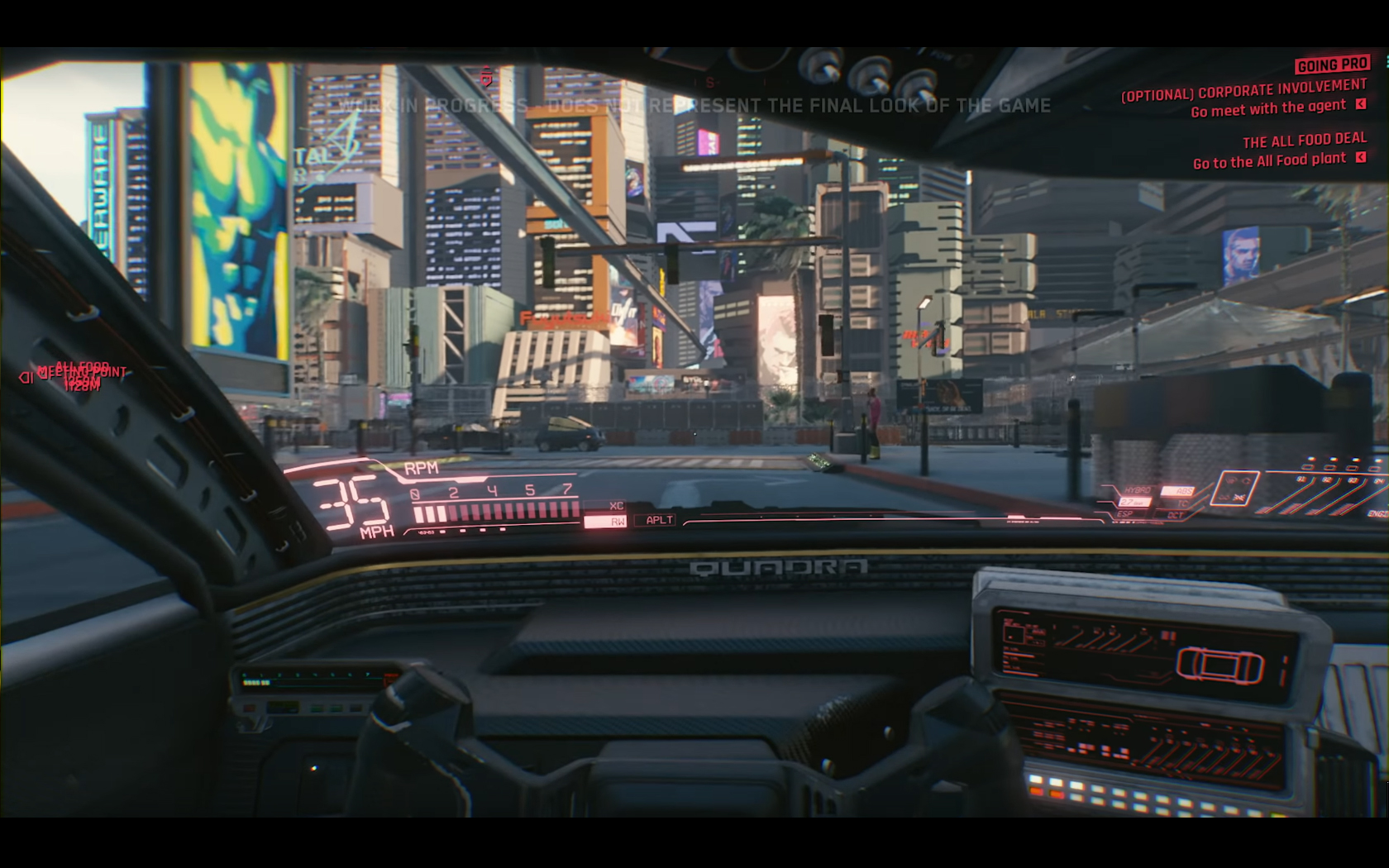 CD Projekt Red - Cyberpunk 2077 - video reveal gameplay - 2018 - screen - sports car QUADRA - onboard road city