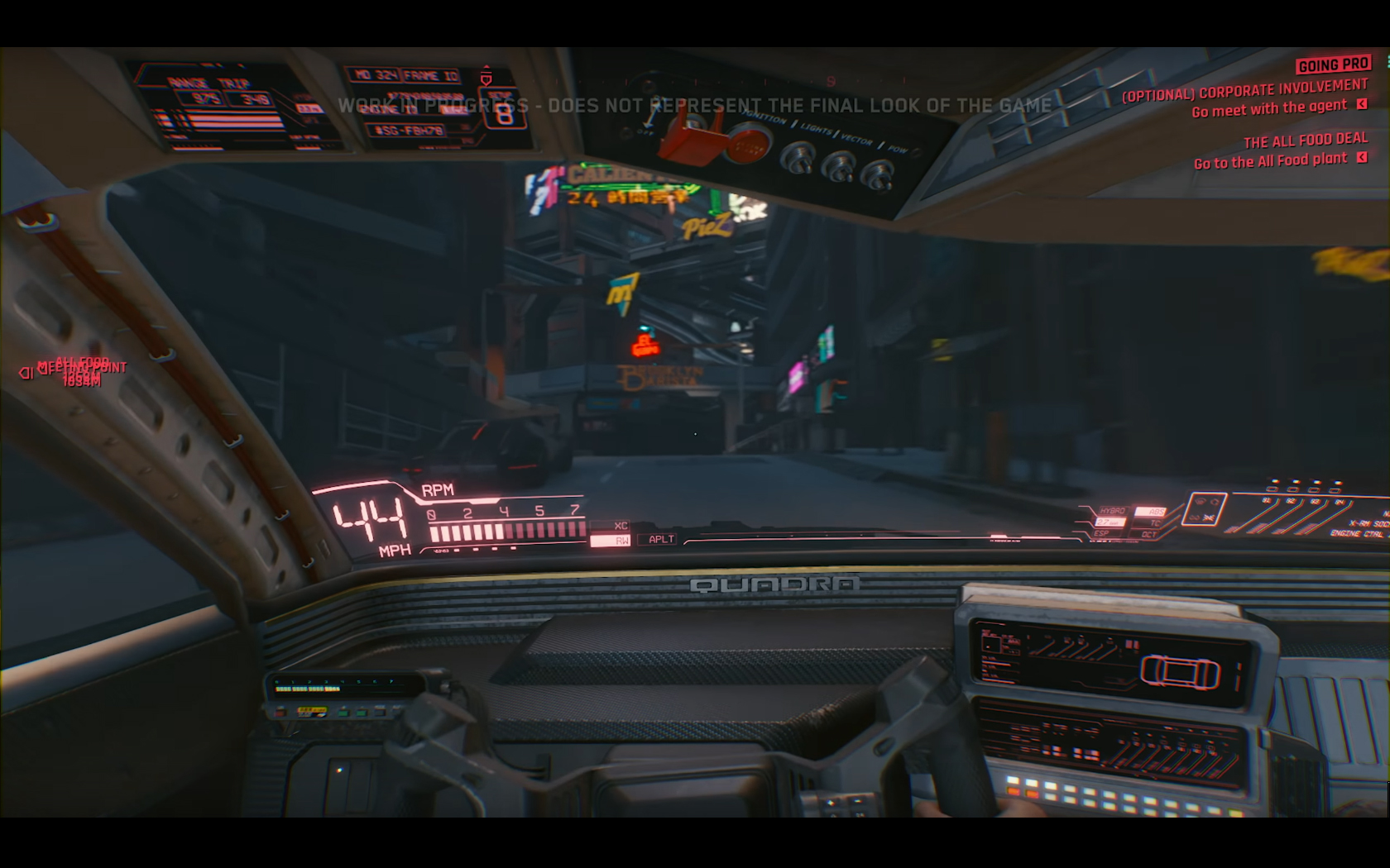 CD Projekt Red - Cyberpunk 2077 - video reveal gameplay - 2018 - screen - sports car QUADRA - traffic supercar