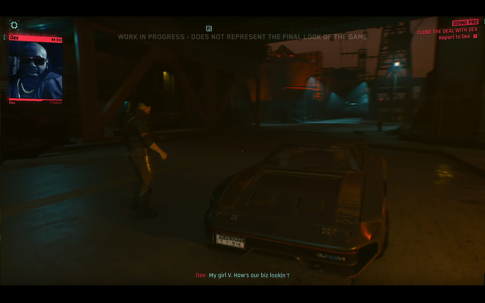 CD Projekt Red - Cyberpunk 2077 - video reveal gameplay - 2018 - screen - sports car QUADRA - front night