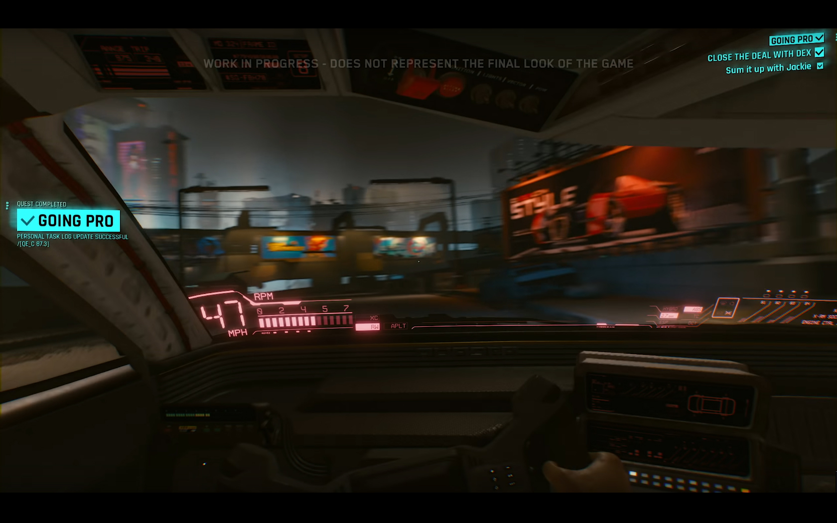 CD Projekt Red - Cyberpunk 2077 - video reveal gameplay - 2018 - screen - sports car QUADRA - onboard