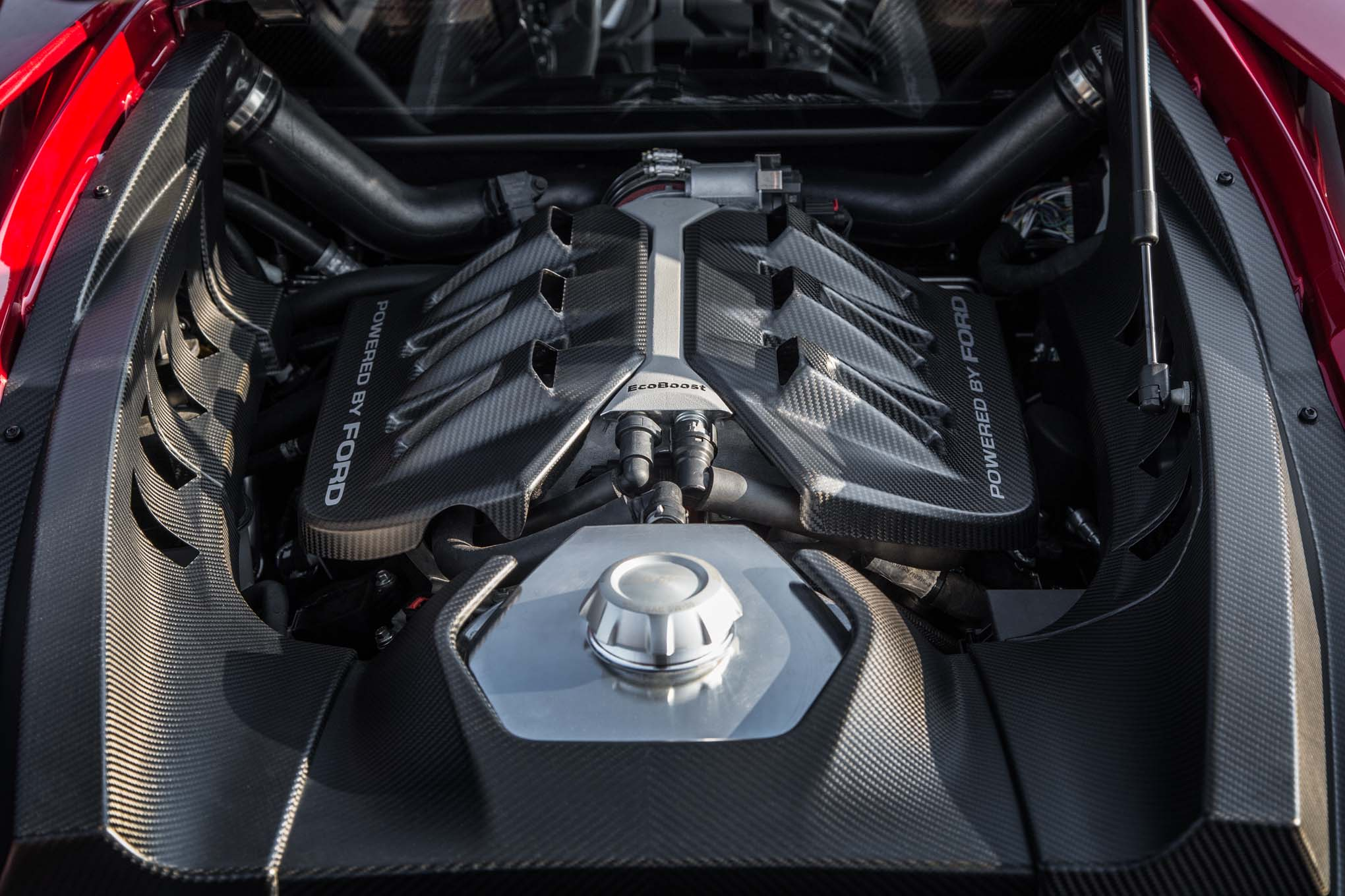 Ford GT -engine - under the hood - photo via MotorTrend CA