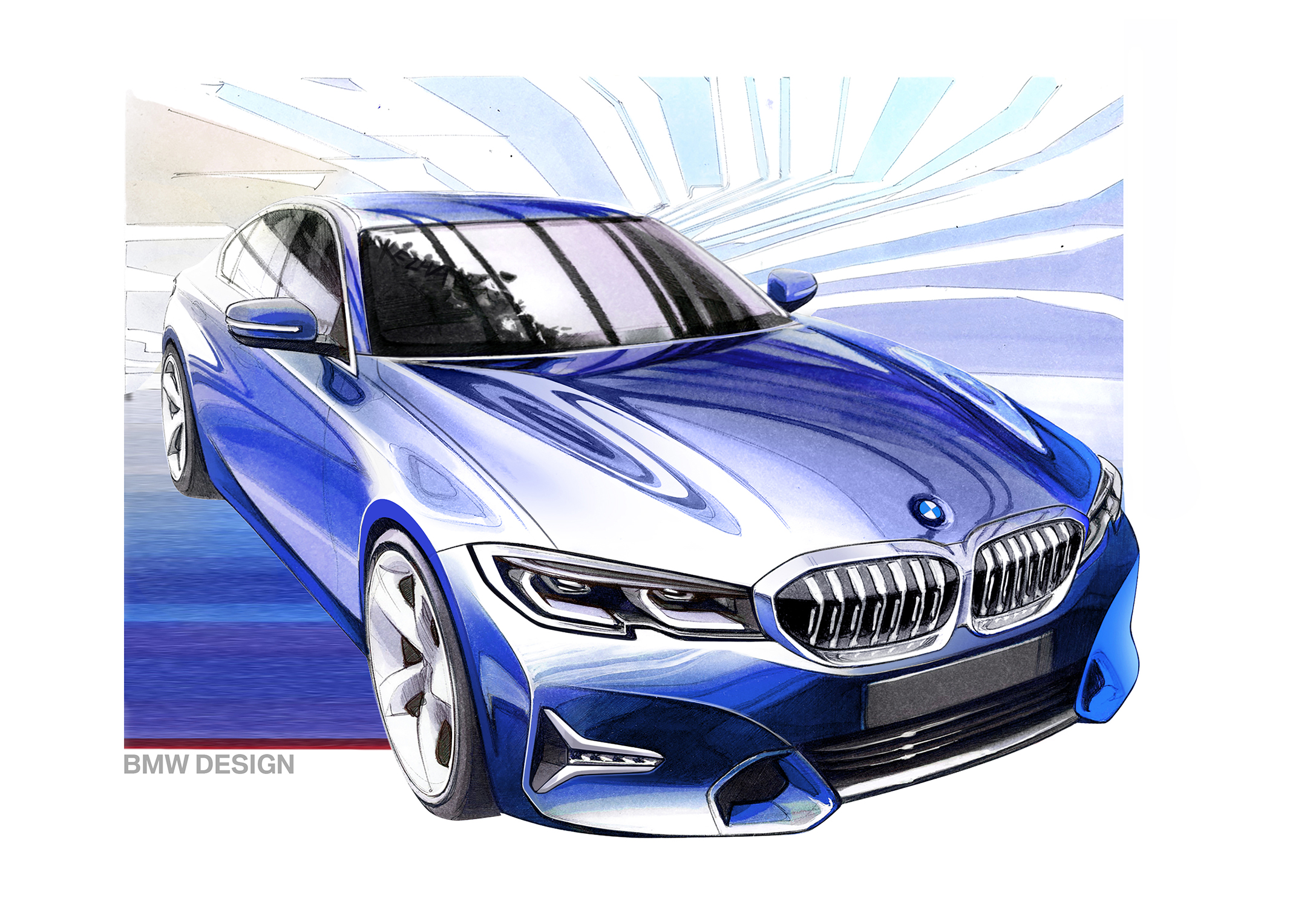 BMW Serie 3 Berline - 2018 - sketch design - front / avant