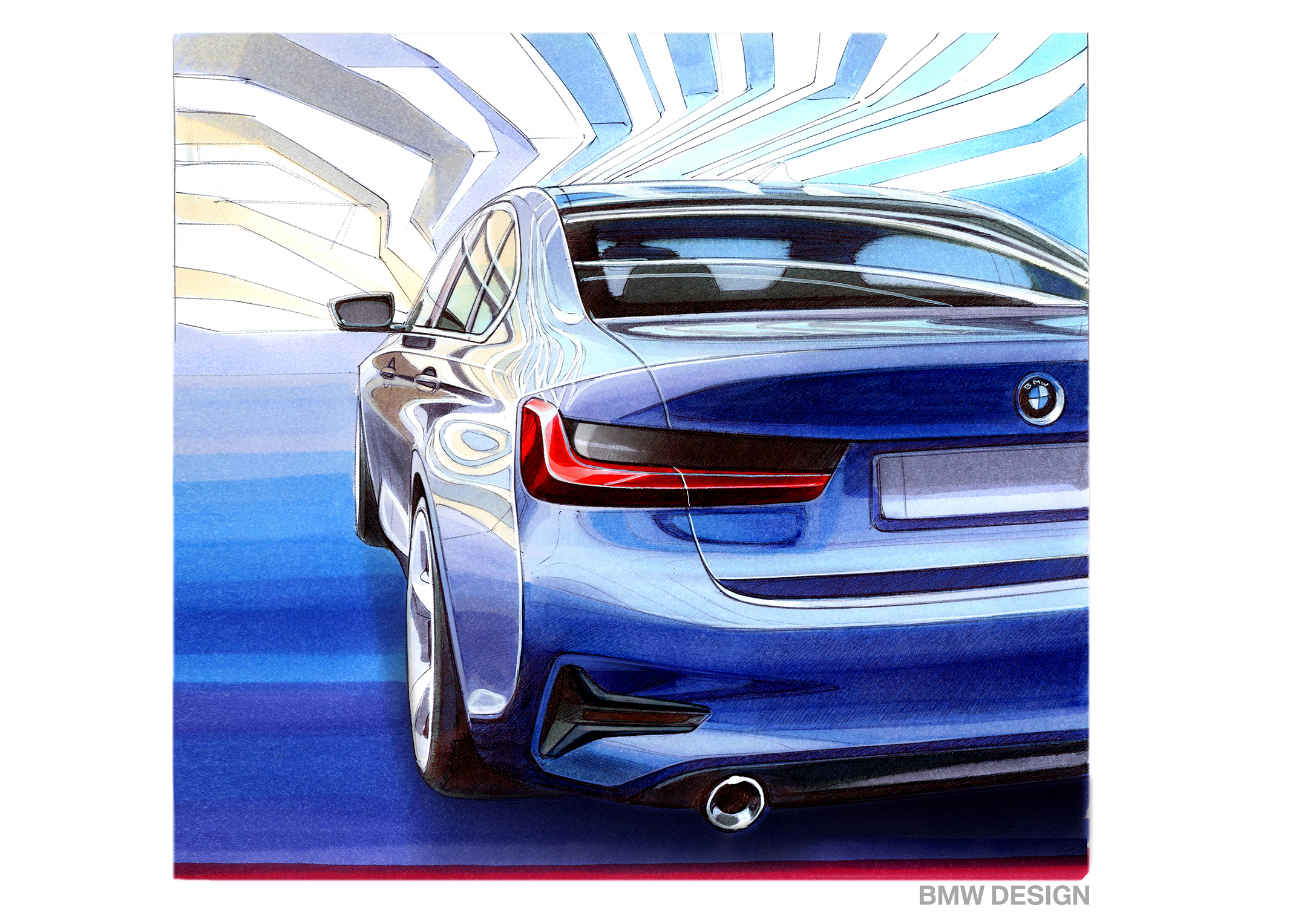 BMW Serie 3 Berline - 2018 - sketch design - rear / arrière