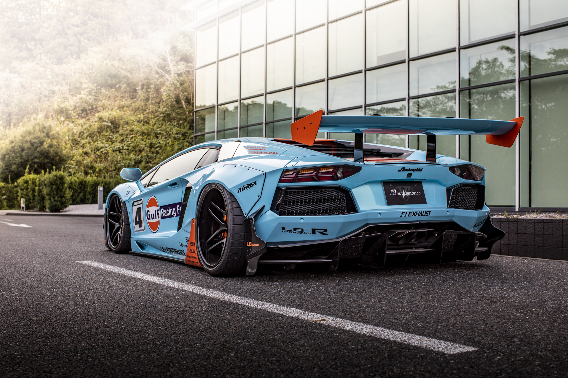 Liberty Walk Lamborghini Aventador Gulf Livery - 2018 - rear side-face