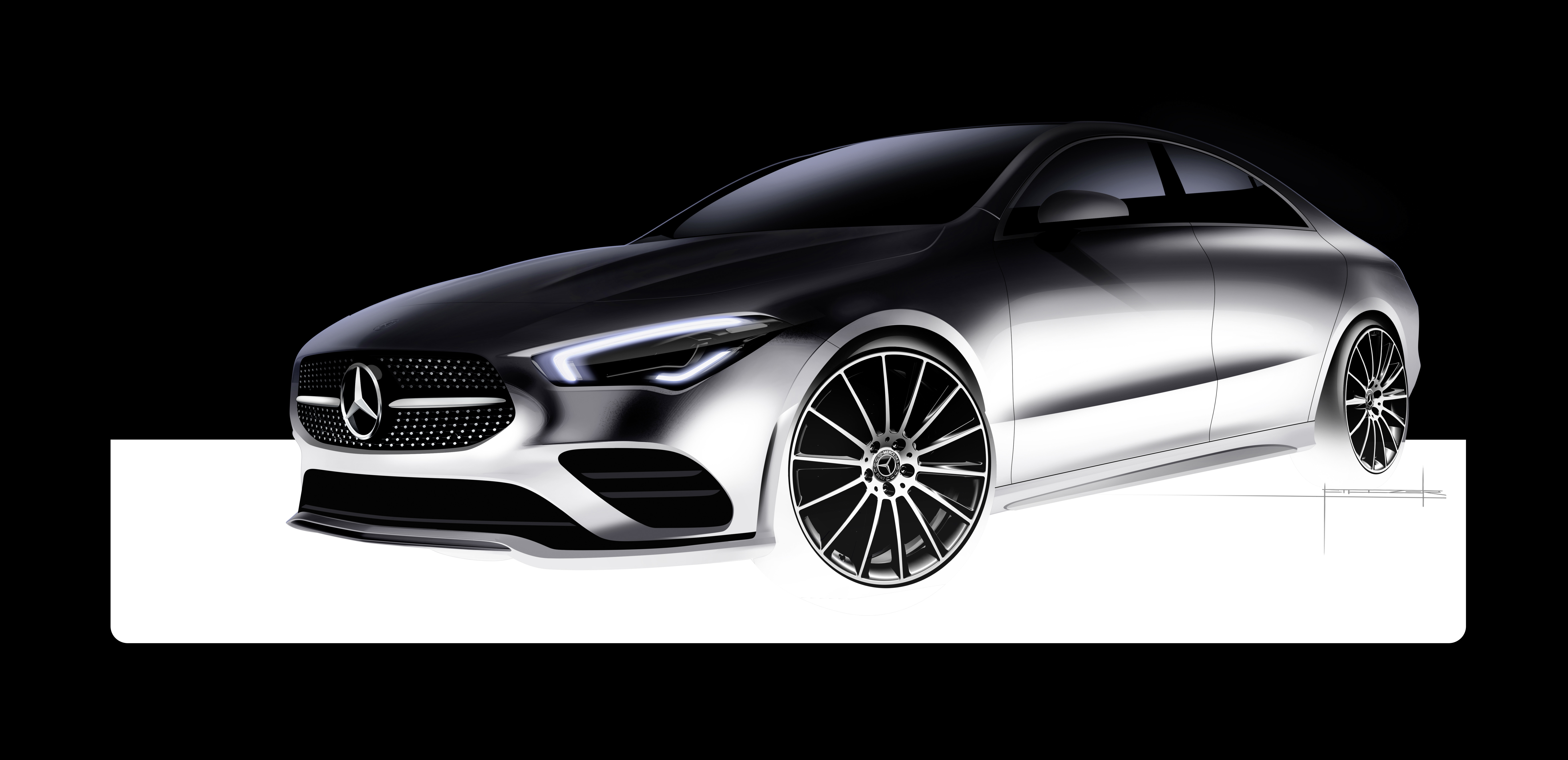 Mercedes-Benz CLA Coupe - 2019 - design sketch - front side-face / profil avant