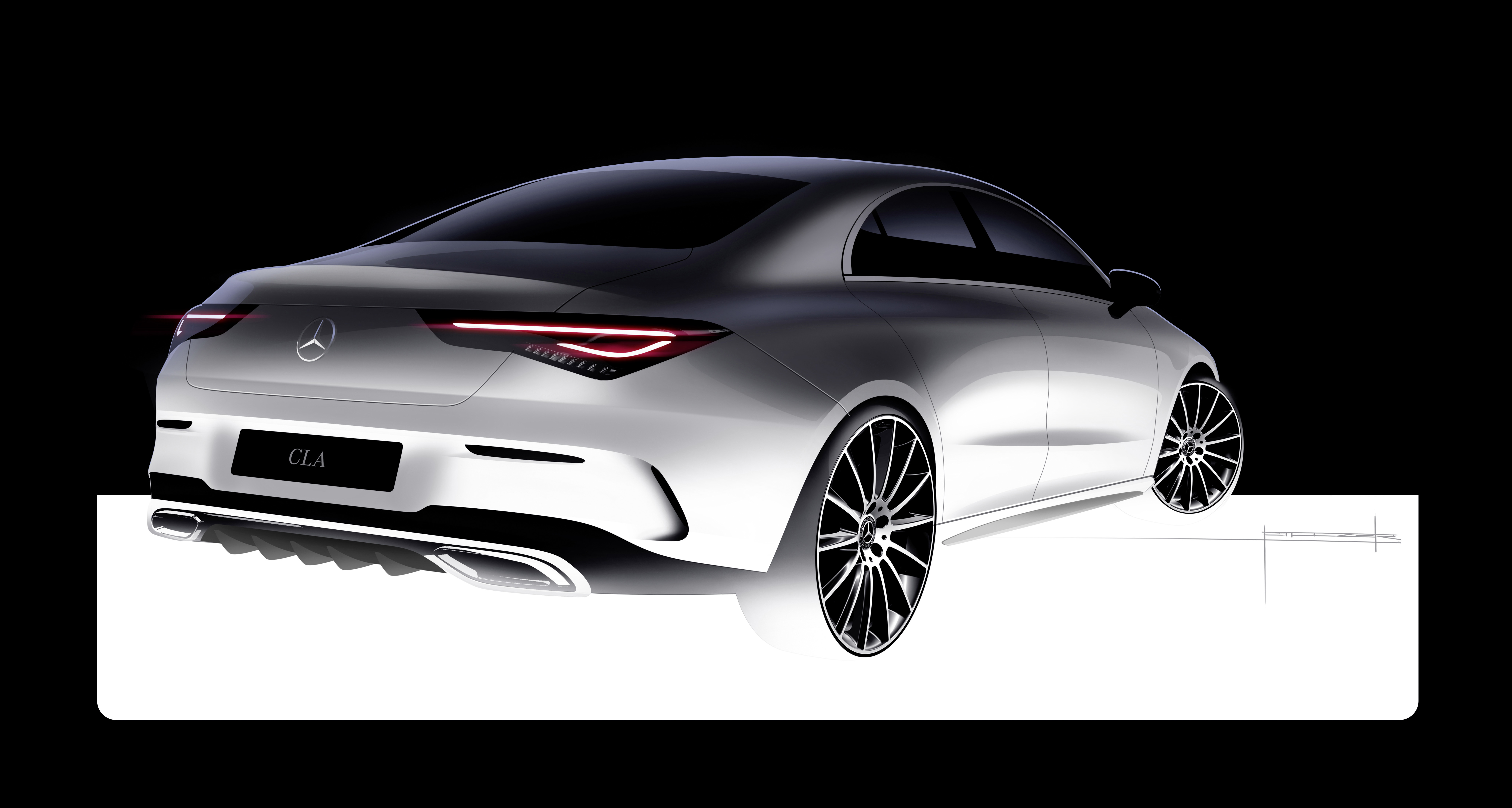 Mercedes-Benz CLA Coupe - 2019 - design sketch - rear side-face / profil arrière