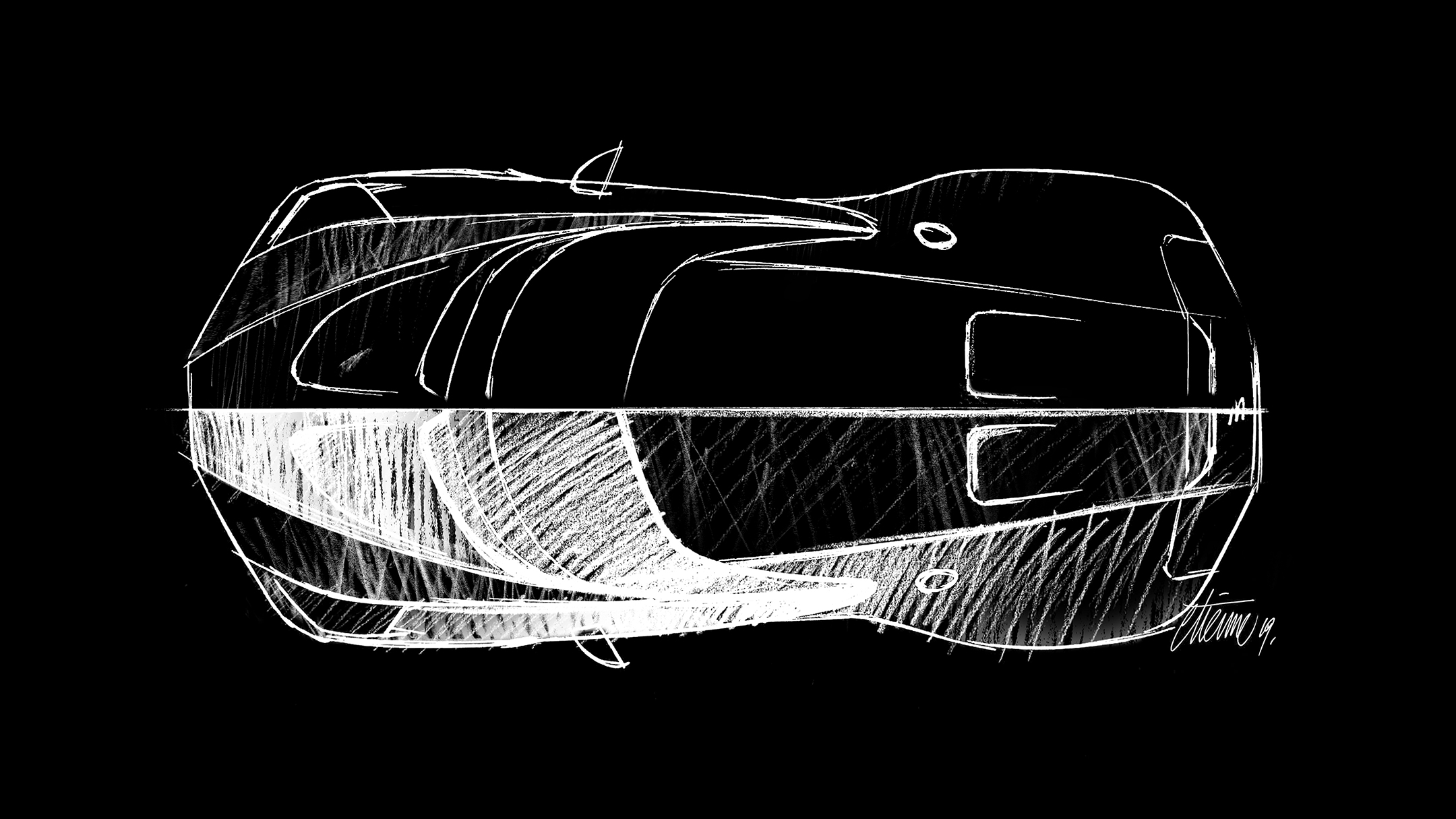 Bugatti La Voiture Noire - 2019 - sketch by ETIENNE - top view