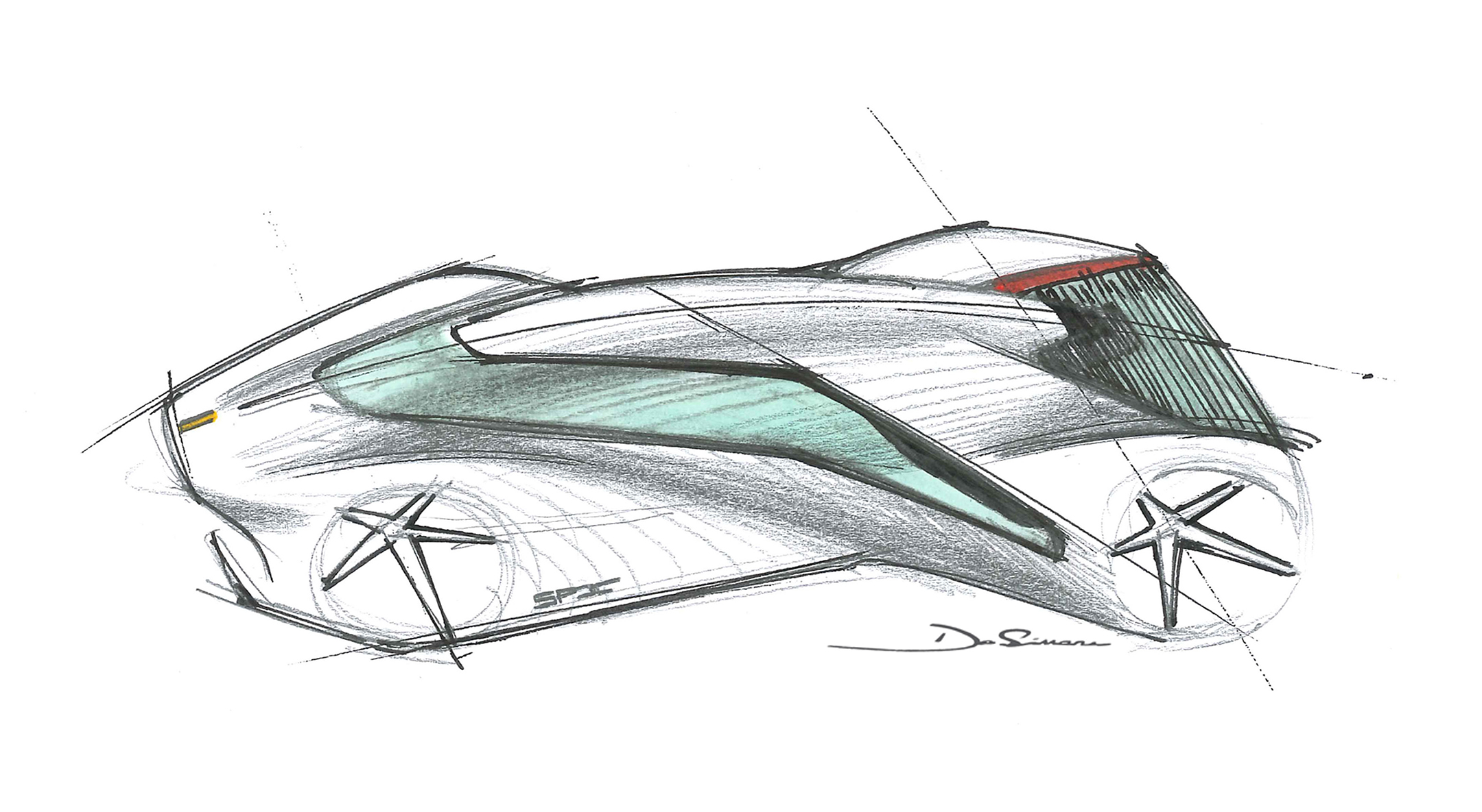 Ferrari P80/C - 2019 - design sketch top - side-face