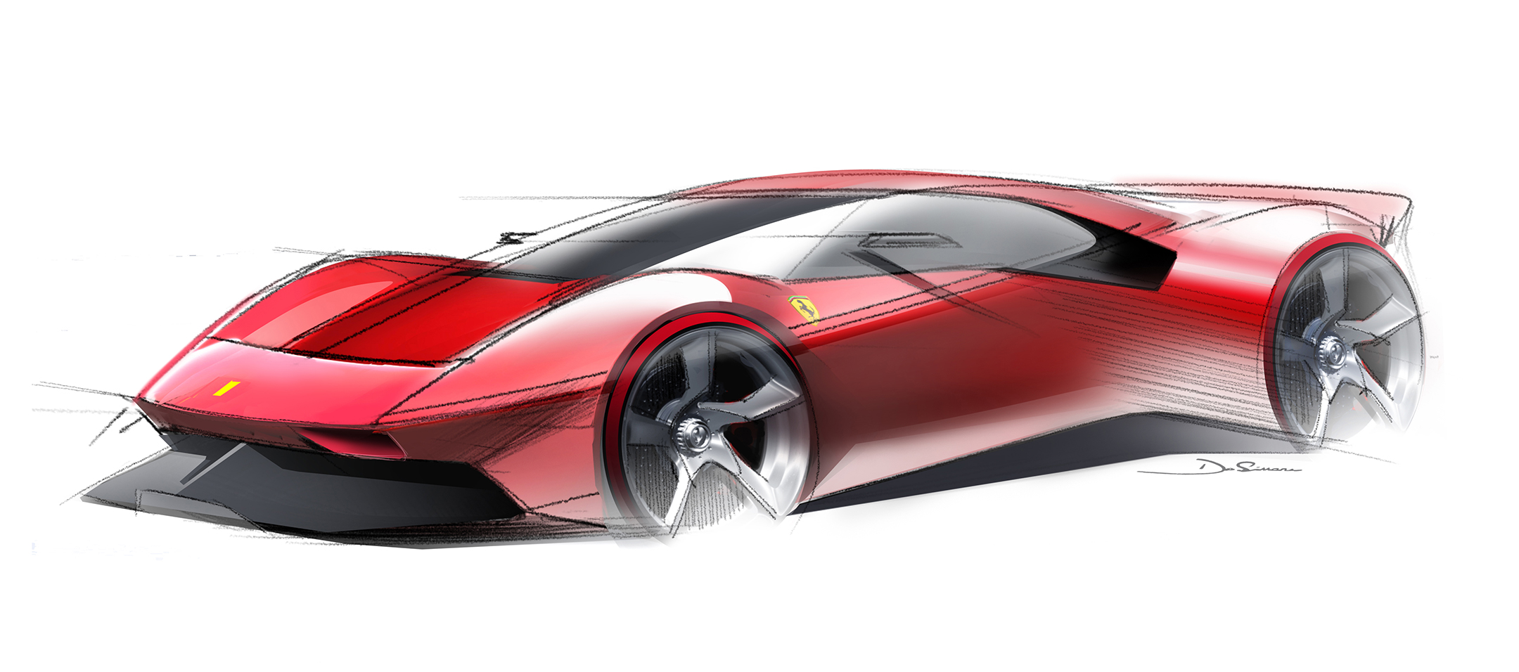 Ferrari P80/C - 2019 - design sketch top - front / avant
