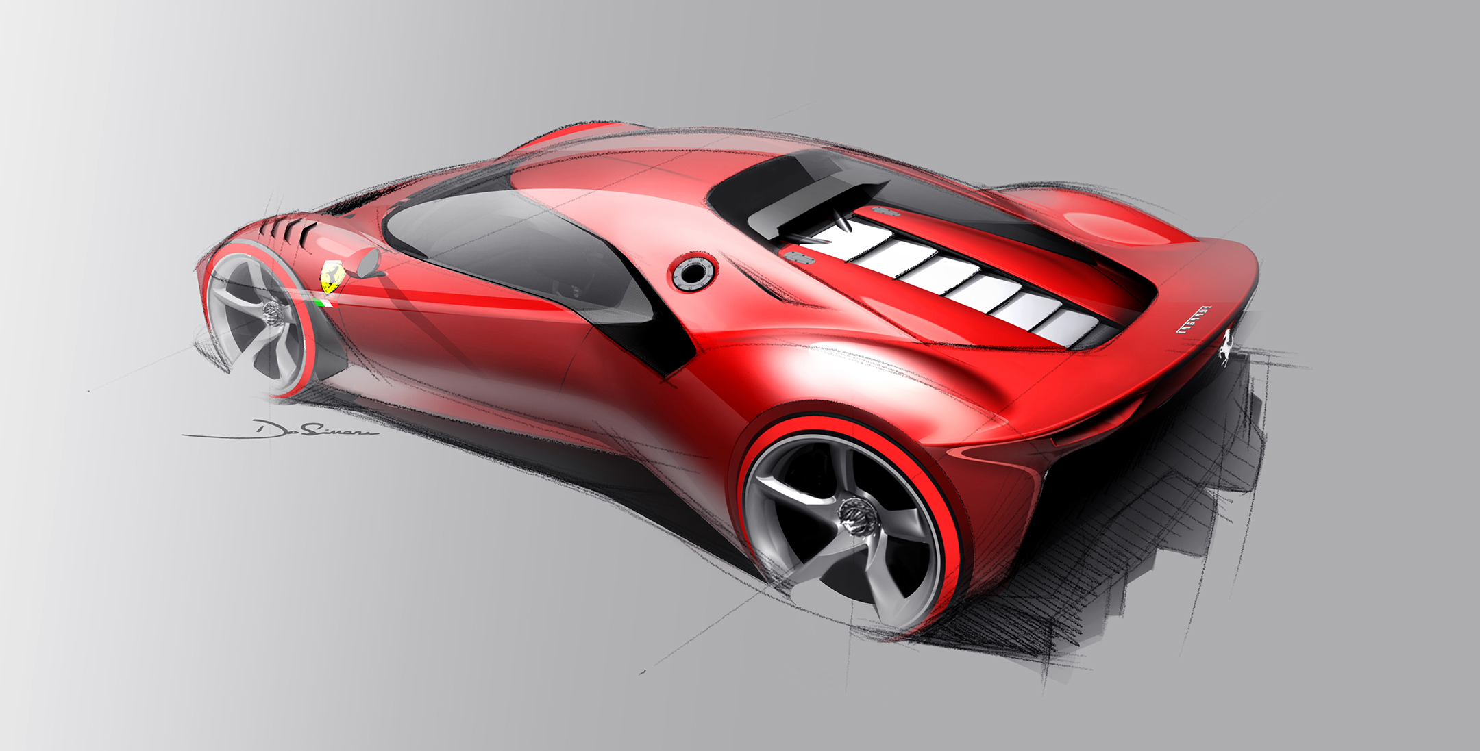 Ferrari P80/C - 2019 - design sketch top - rear / arrière