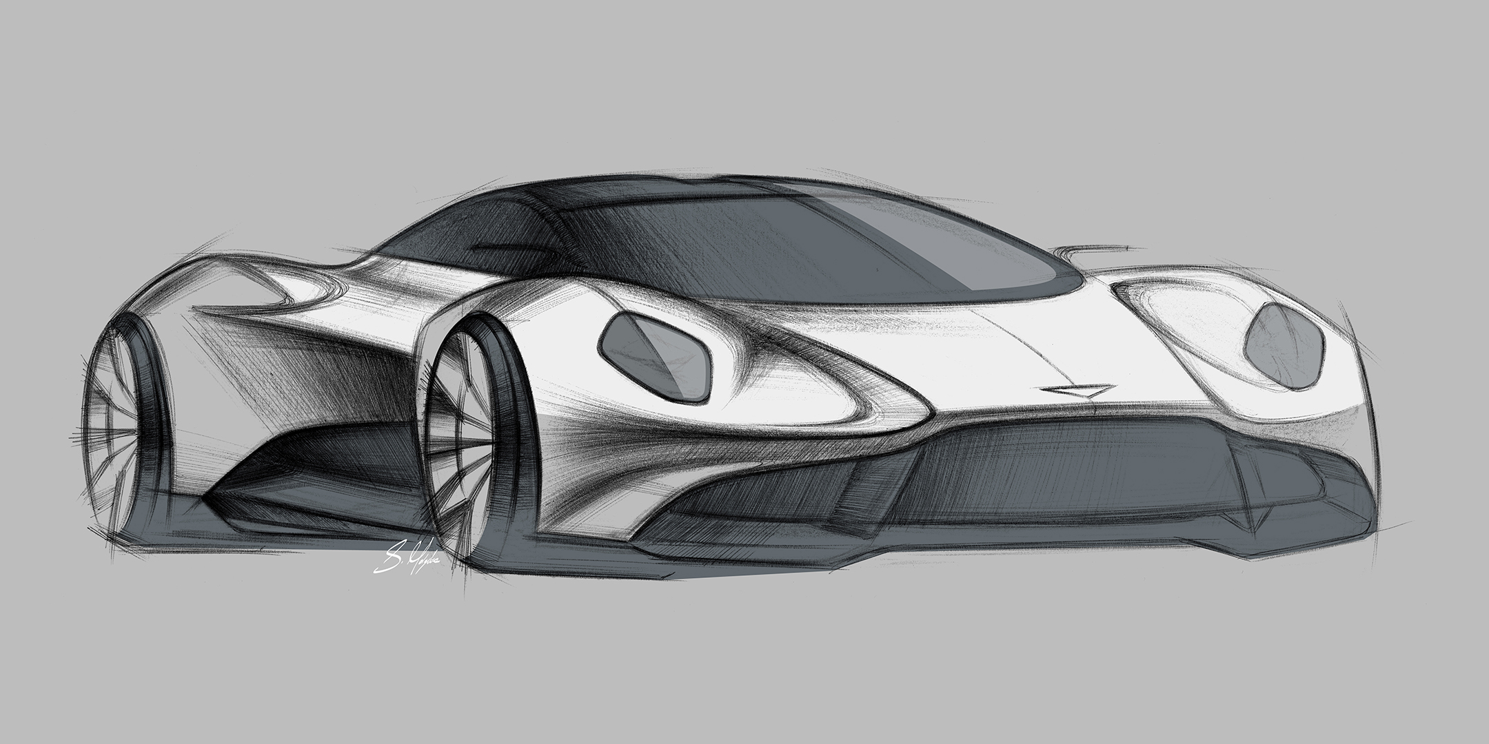 Aston Martin Vanquish Vision Concept - 2019 - front side-face / profil - sketch design by Sam Holgate