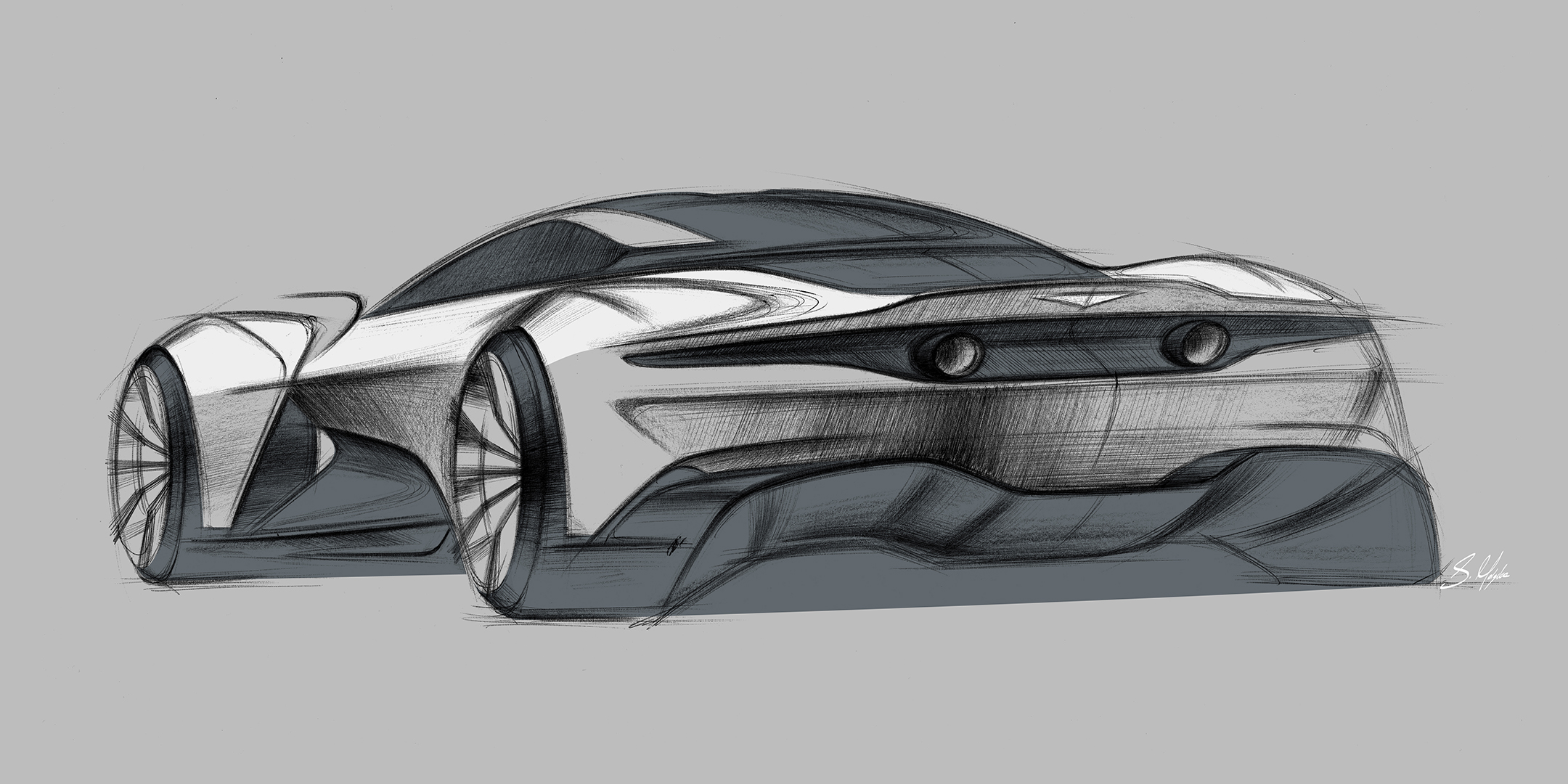 Aston Martin Vanquish Vision Concept - 2019 - rear side-face / profil arrière - sketch design by Sam Holgate
