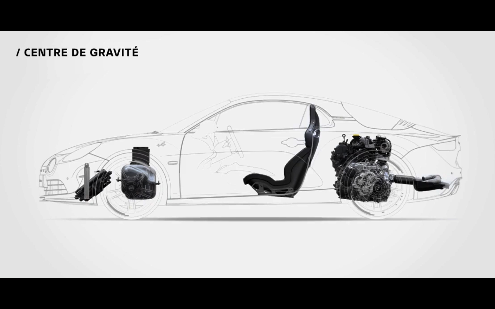 Alpine A110S - 2019 - chassis / châssis - side view - centre of gravity / centre de gravité