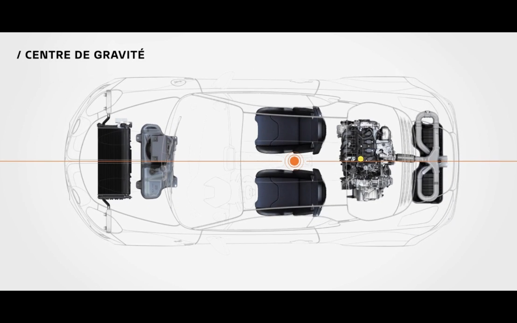 Alpine A110S - 2019 - chassis / châssis - top view - centre of gravity / centre de gravité