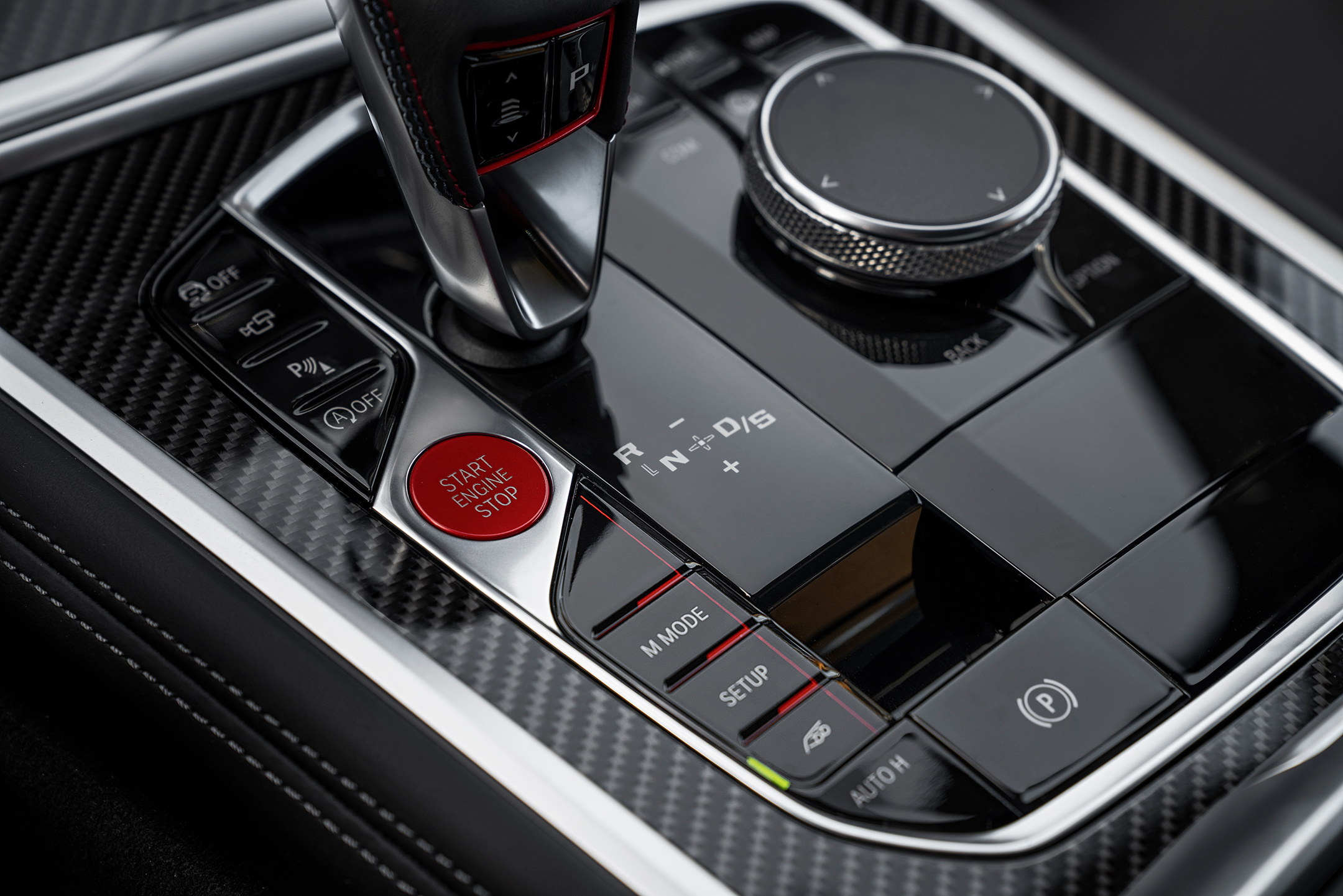 BMW M8 Competition Coupe - 2019 - gearshift / levier de vitesse