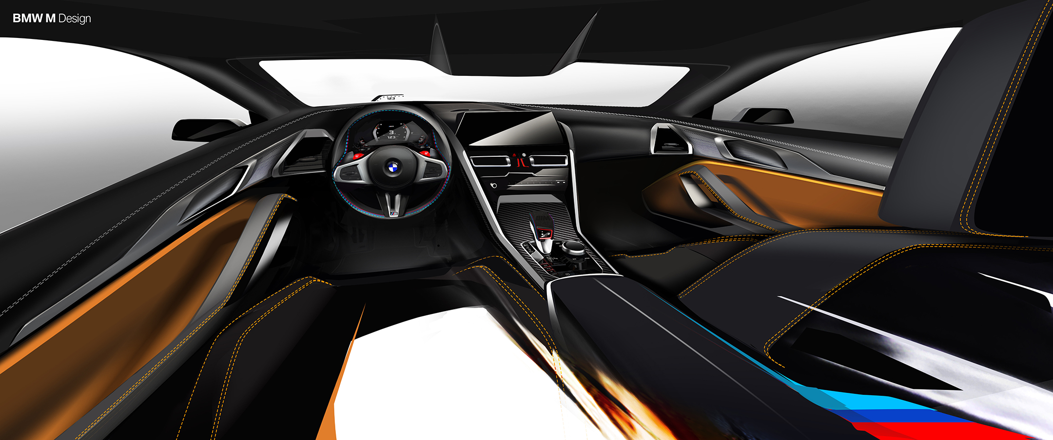 BMW M8 Competition Coupe - 2019 - interior / intérieur - sketch design