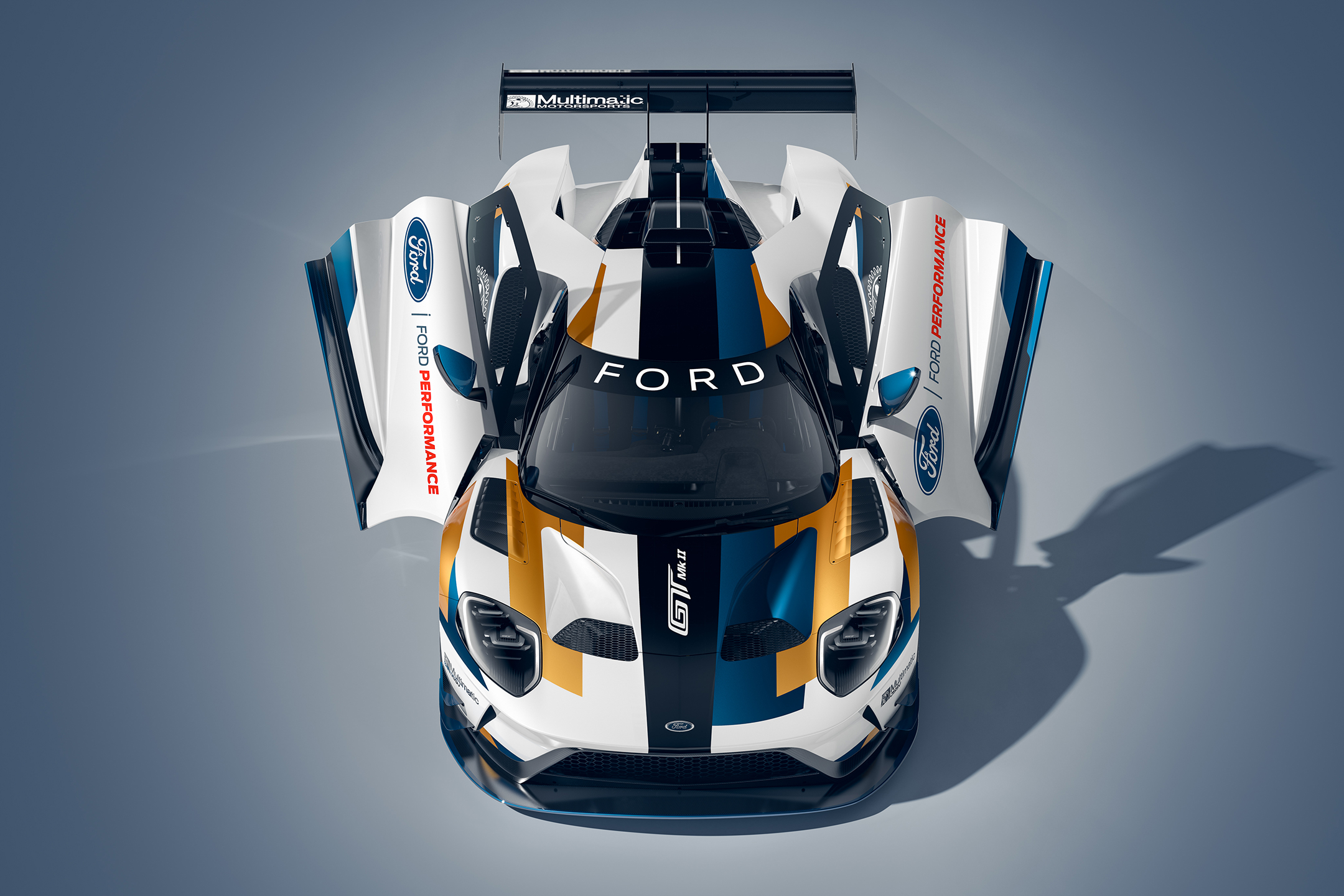 Ford GT Mk II - 2019 - front / avant - top view - open doors / portes ouvertes
