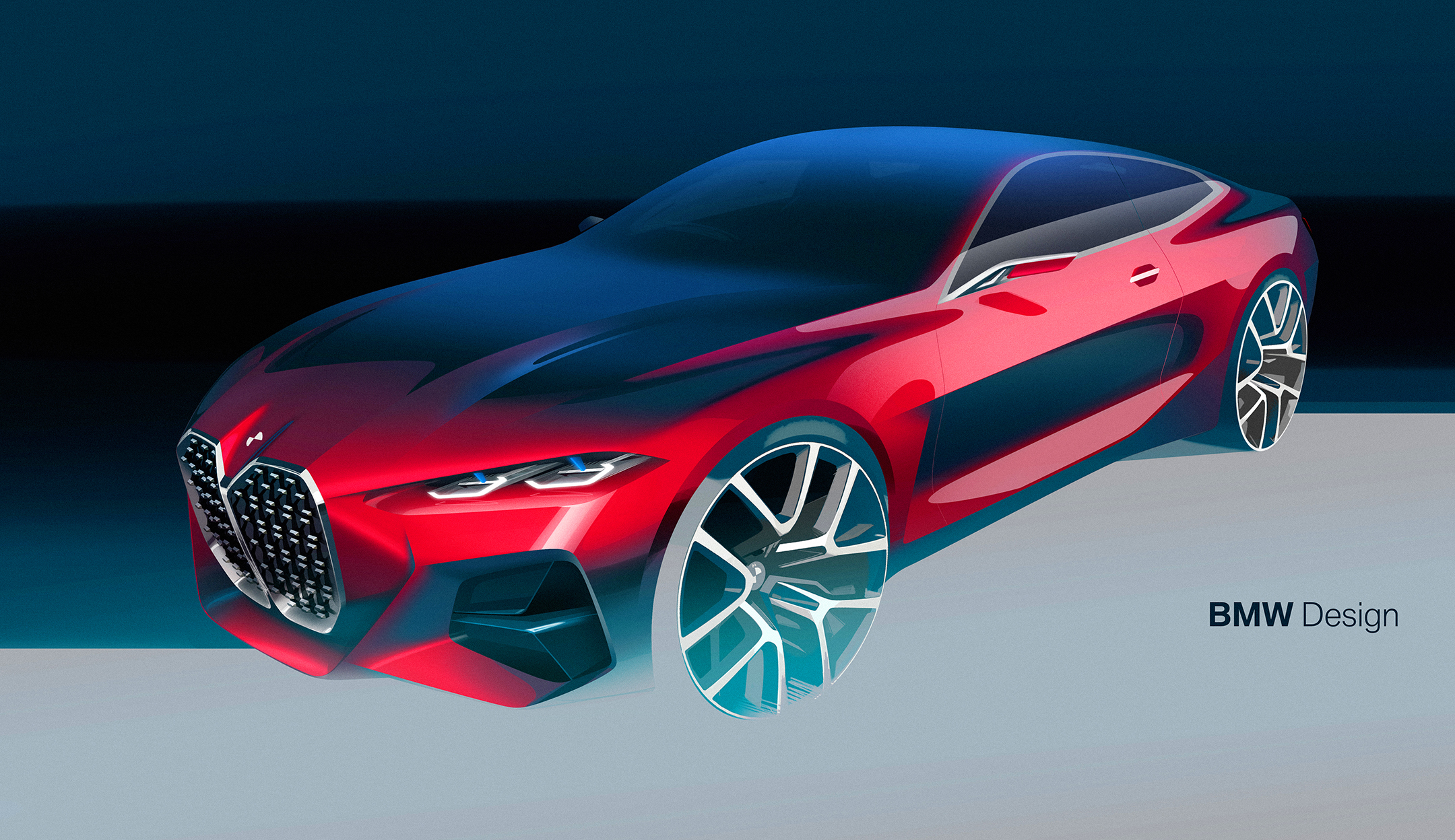 BMW Concept 4 - 2019 - sketch - front side-face / profil avant