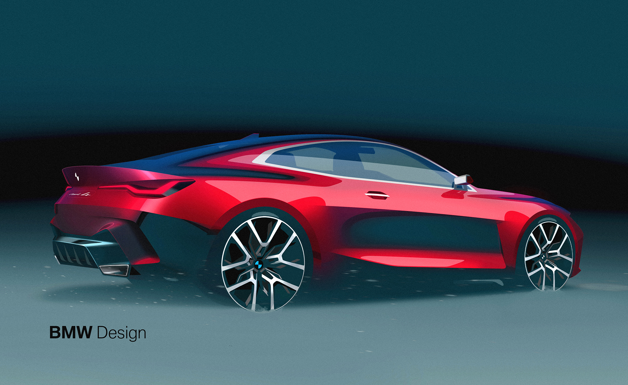 BMW Concept 4 - 2019 - sketch - rear side-face / profil arrière