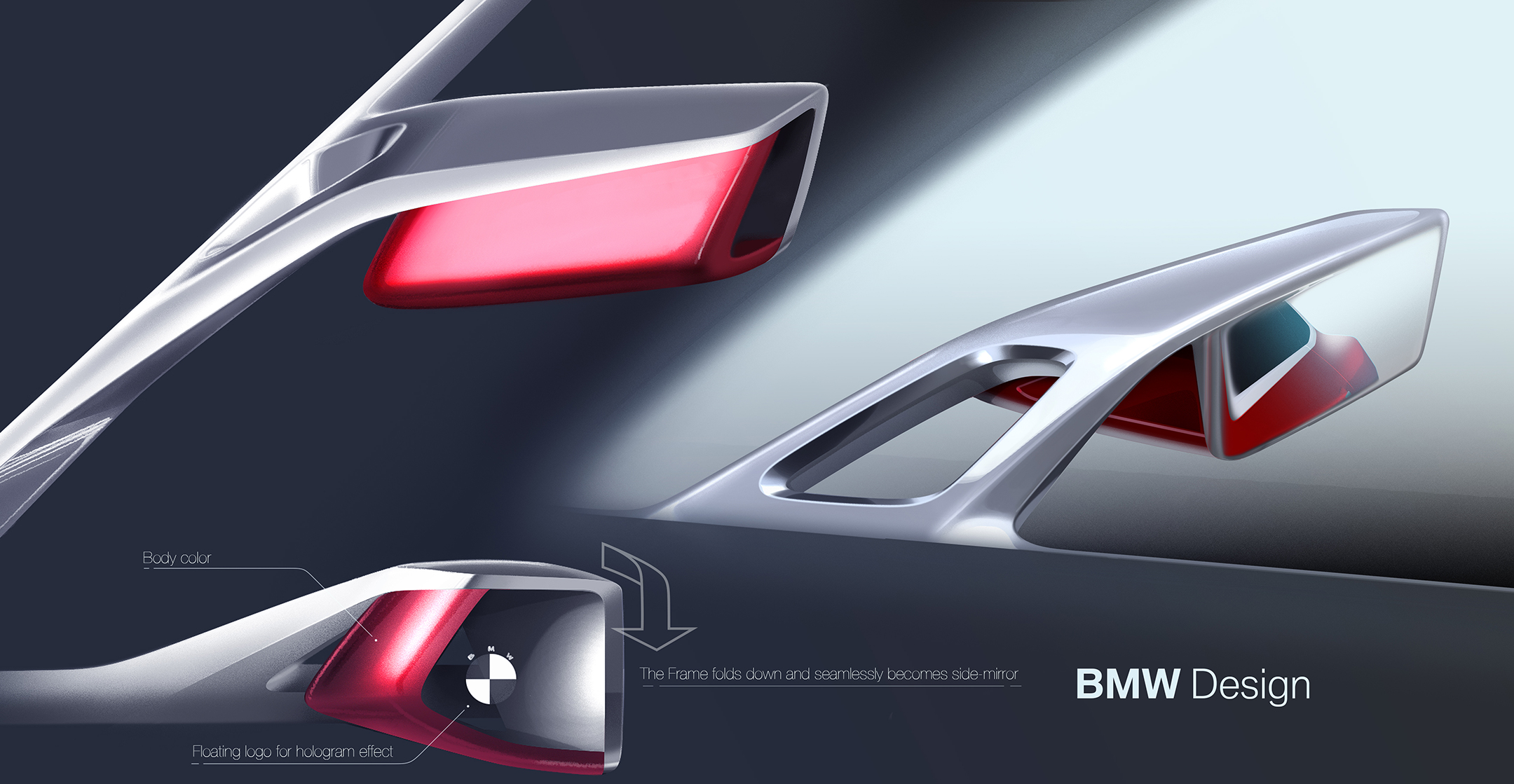 BMW Concept 4 - 2019 - sketch design - mirror wing / rétroviseur