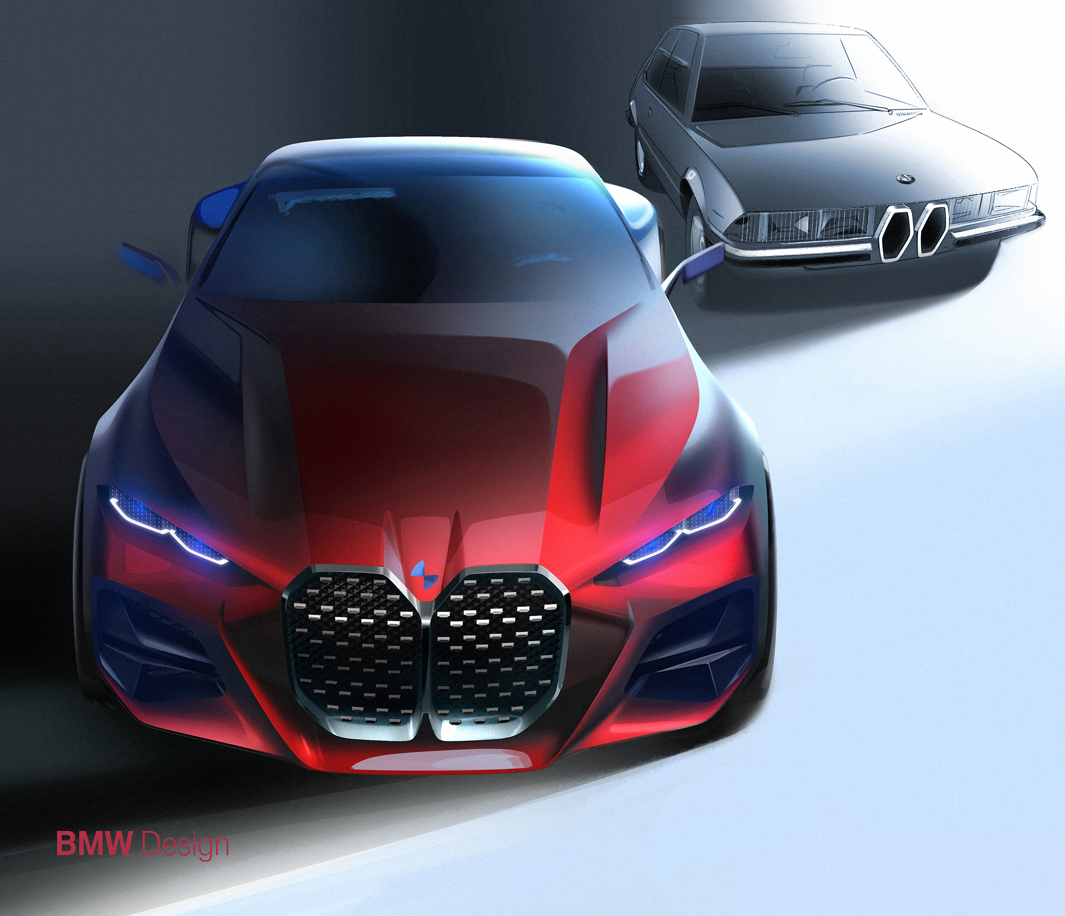 BMW Concept 4 - 2019 - sketch design - top - front-face / face avant - heritage