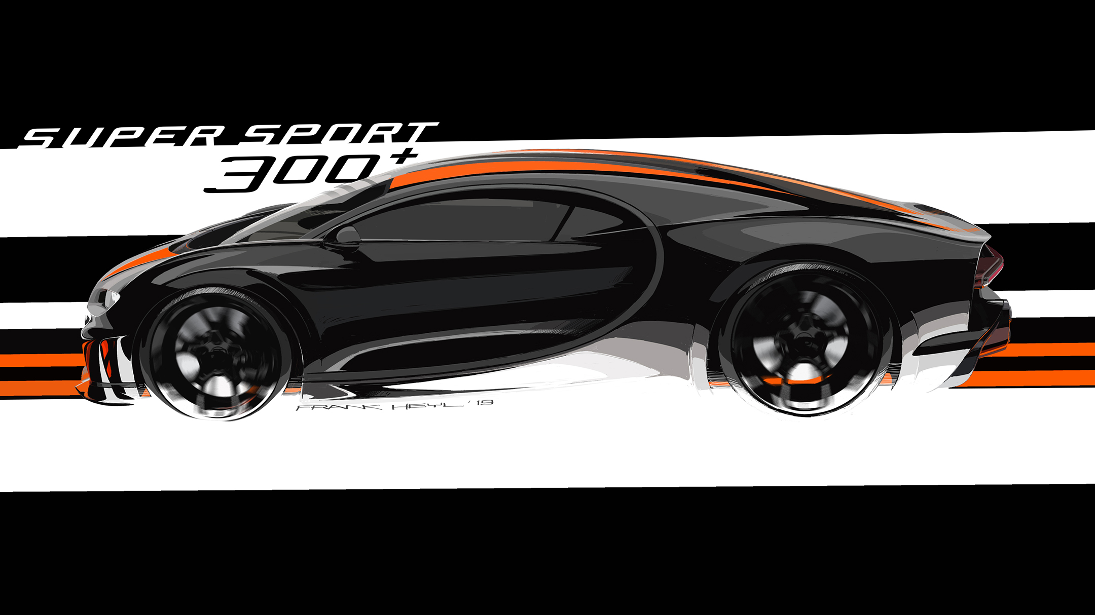 Bugatti Chiron Super Sport 300+ - 2019 - sketch design - side-face / profil