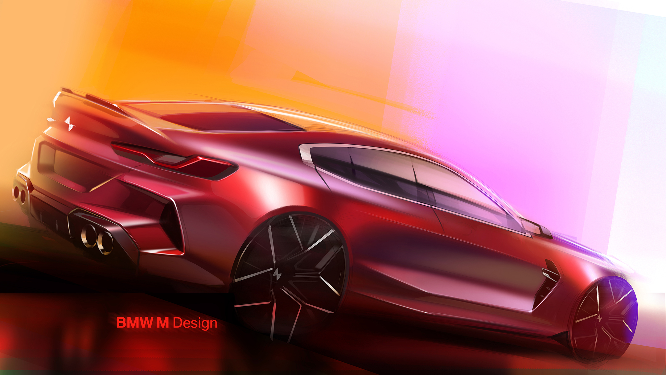 BMW M8 Competition Gran Coupé - 2019 - sketch design - rear side-face / profil arrière