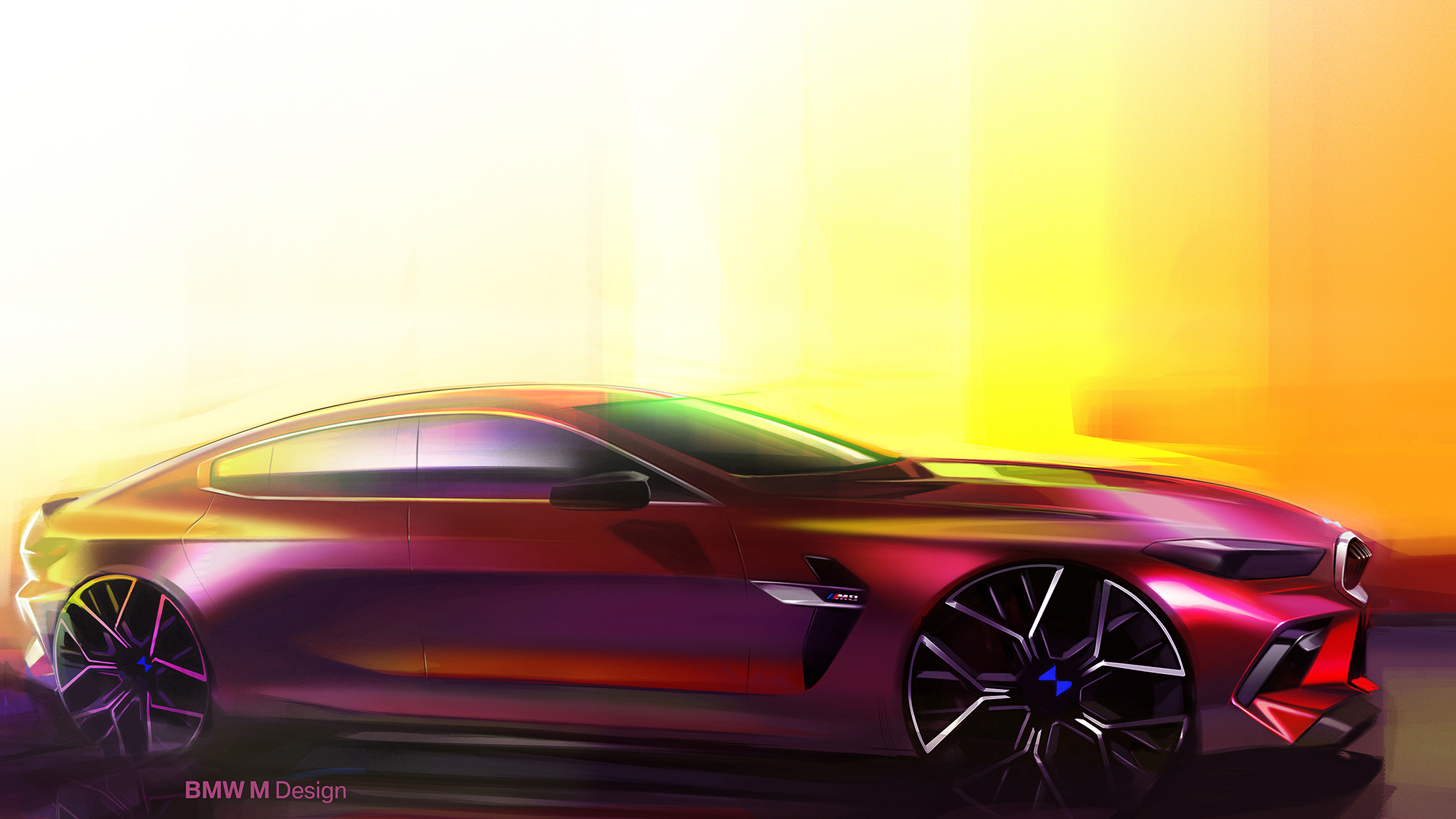BMW M8 Competition Gran Coupé - 2019 - sketch design - side-face / profil