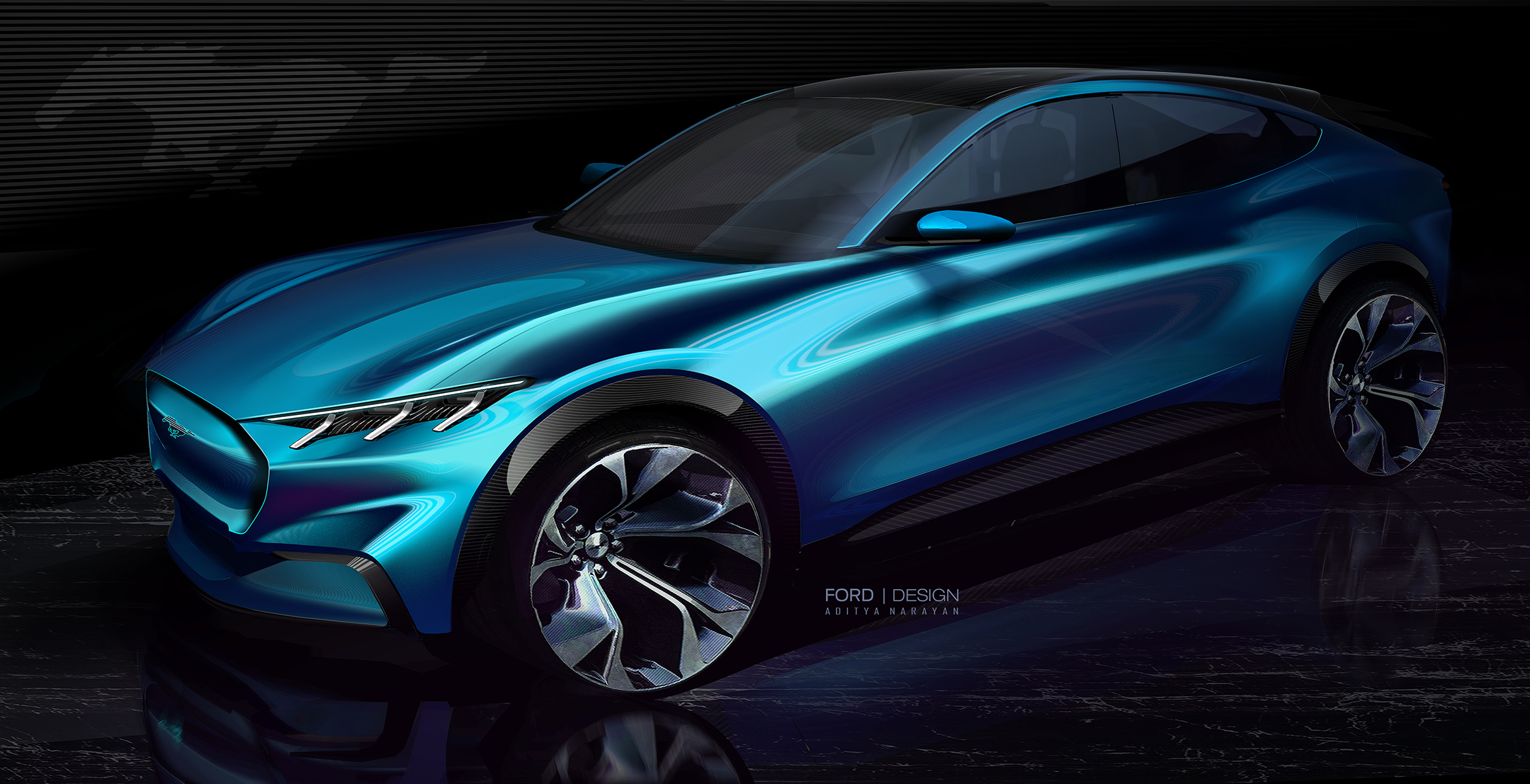 Ford Mustang Mach-E - 2019 - design sketch - front side-face / profil