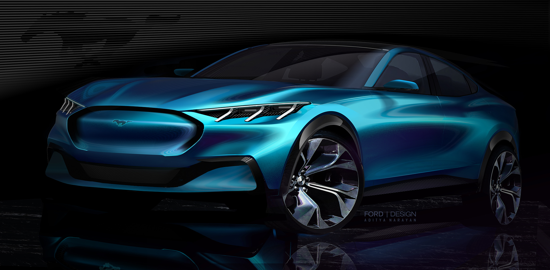 Ford Mustang Mach-E - 2019 - design sketch - front / avant