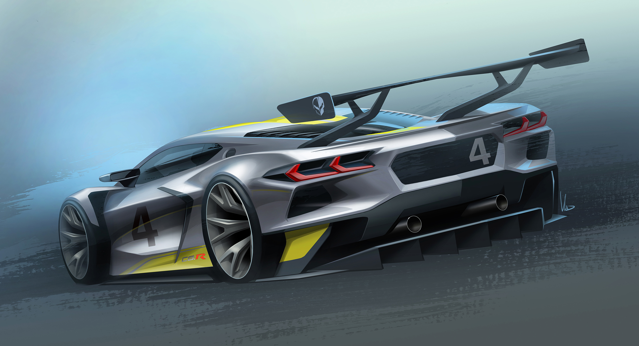 Chevrolet Corvette C8.R - 2019 - sketch design - rear side-face / profil arrière