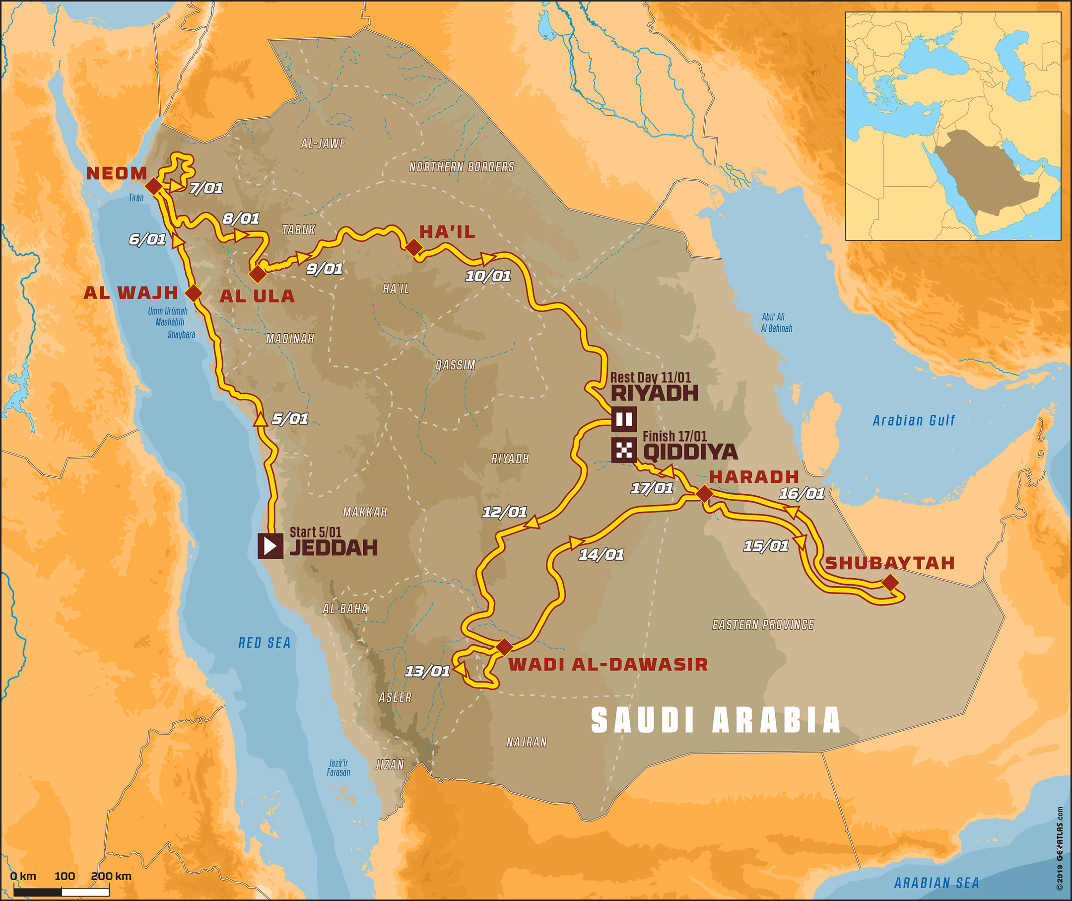 Dakar 2020 Saudi Arabia - map / carte