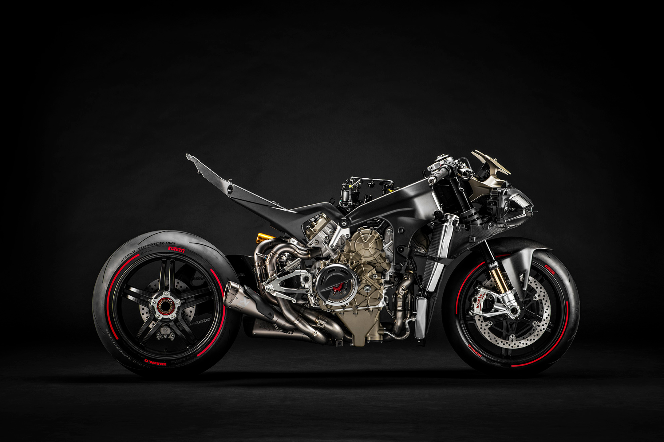 Ducati Superleggera V4 - 2020 - chassis / châssis - side-face exhaust / profil échappement