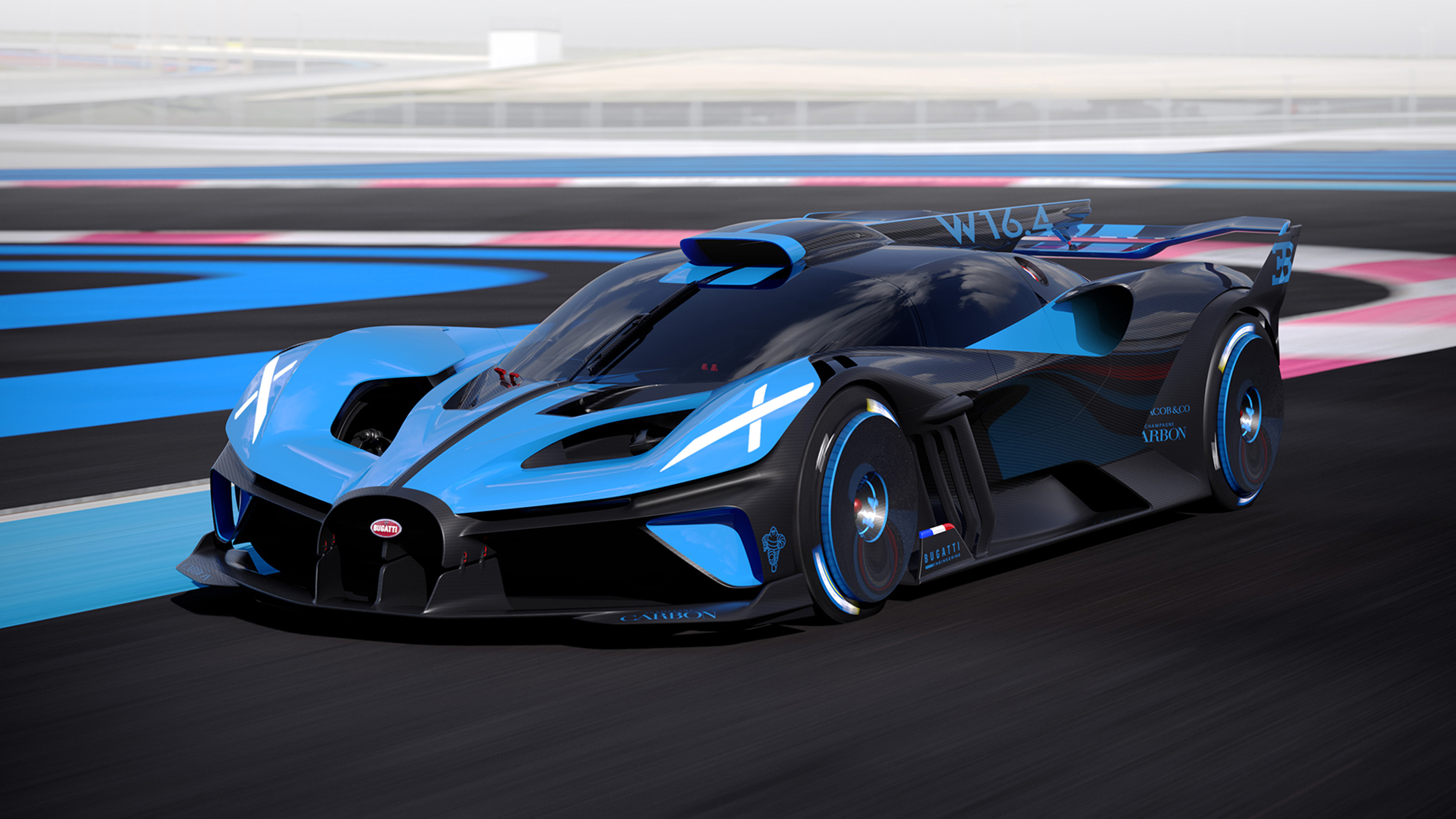 Bugatti Bolide - 2020 - front side-face / profil avant - on track / sur circuit