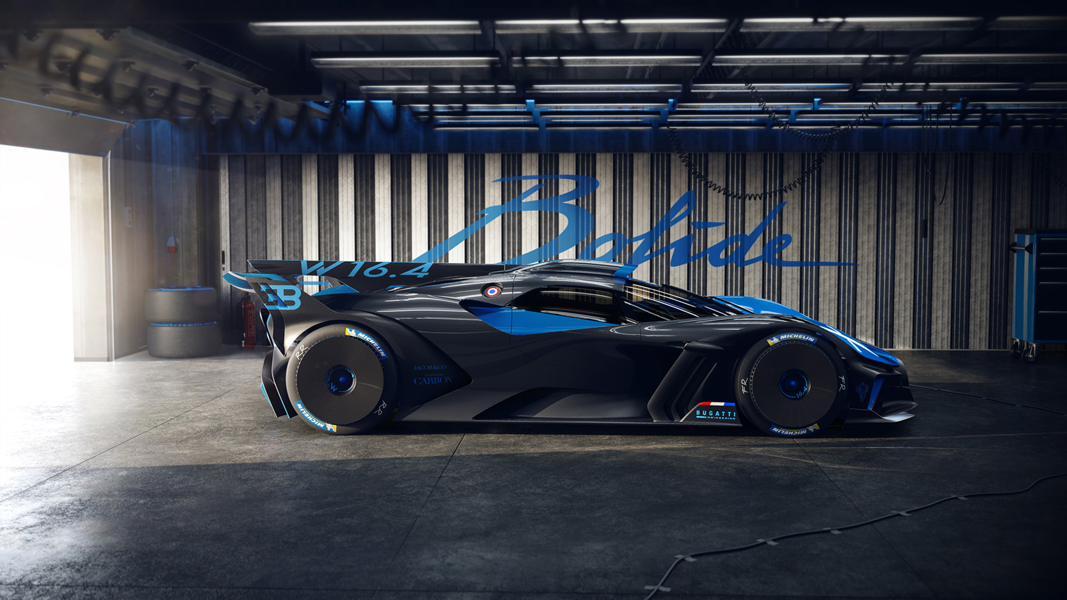 Bugatti Bolide - 2020 - side-face / profil - box - on track / sur circuit