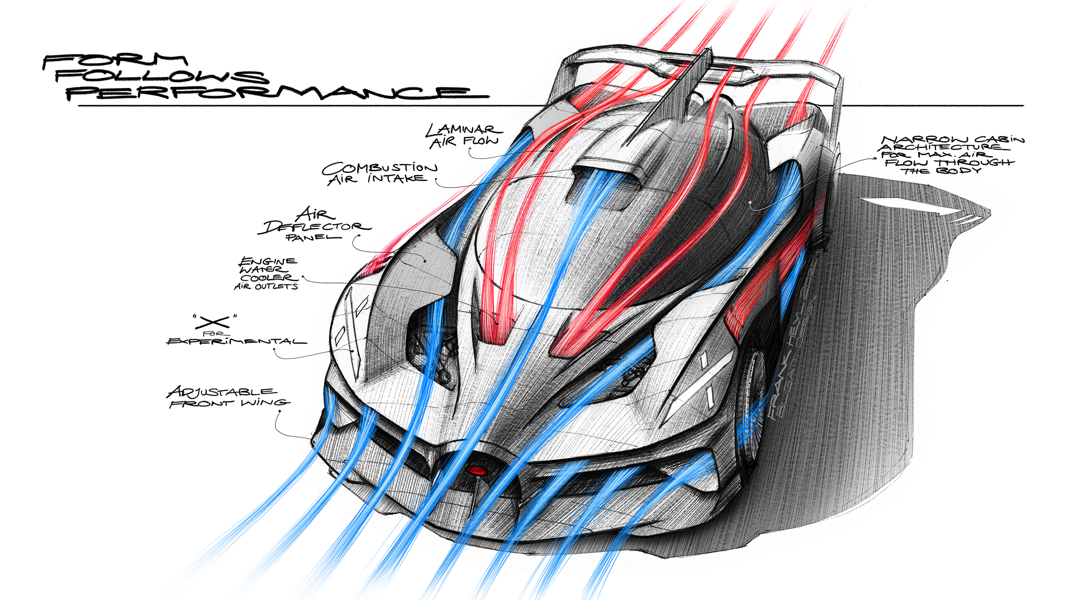 Bugatti Bolide - 2020 - sketch - front side-face / profil avant - form follows performance