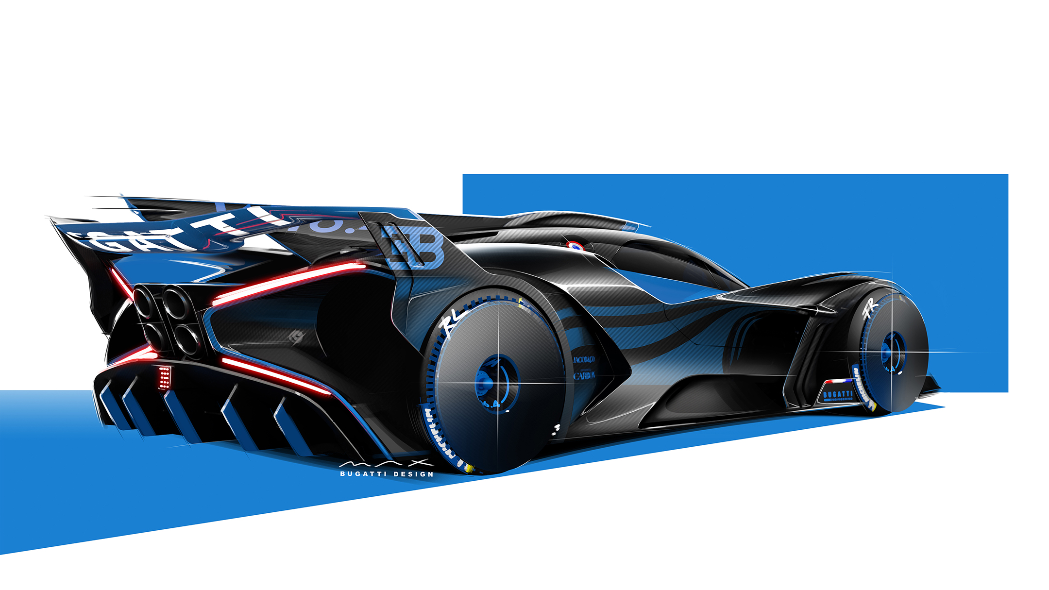 Bugatti Bolide - 2020 - sketch - rear side-face / profil arrière