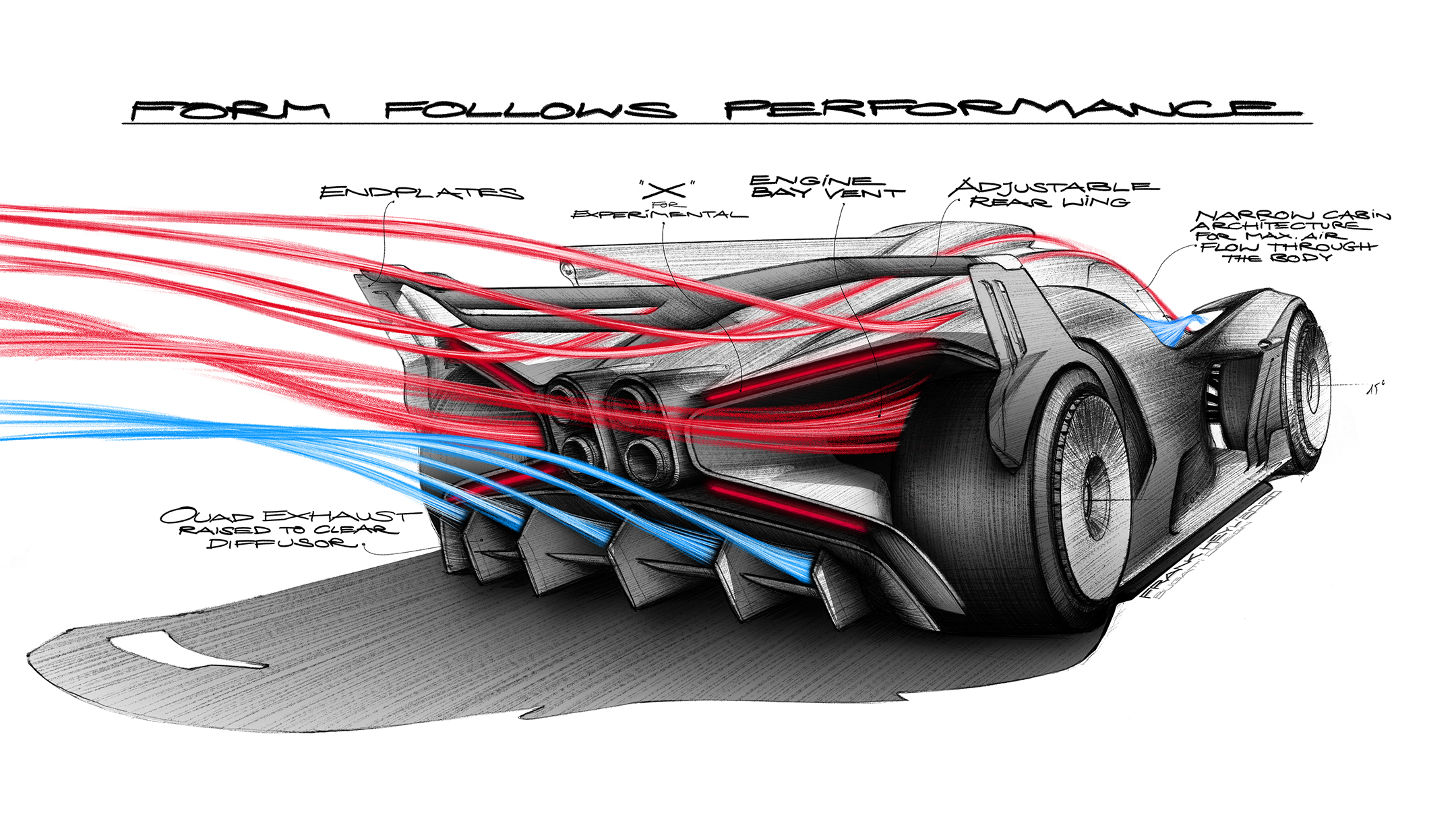 Bugatti Bolide - 2020 - sketch - rear / arrière - form follows performance