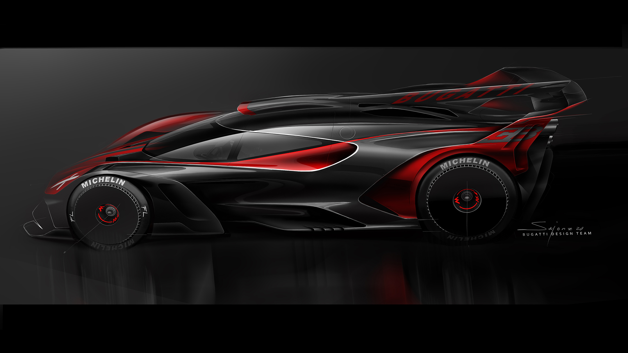 Bugatti Bolide - 2020 - sketch - side-face / profil - red / rouge - dark mode
