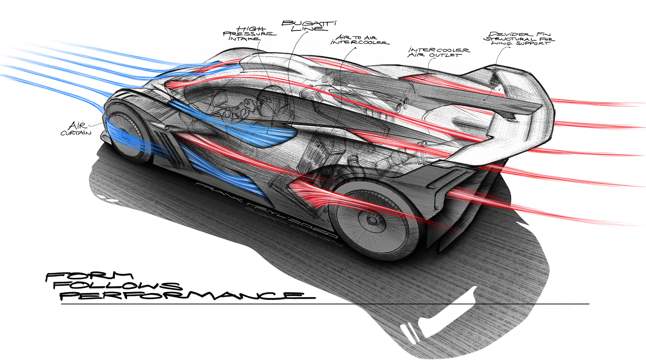Bugatti Bolide - 2020 - sketch - rear side-face / profil arrière - form follows performance