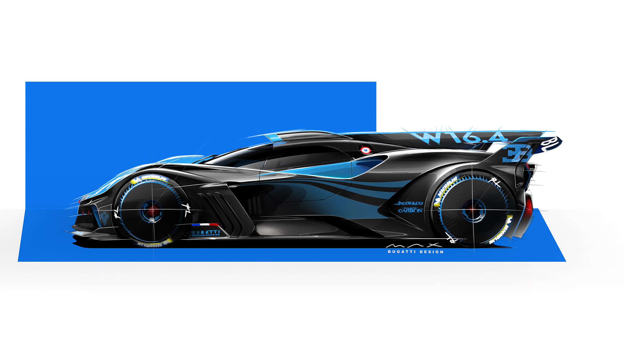 Bugatti Bolide - 2020 - sketch - side-face / profil