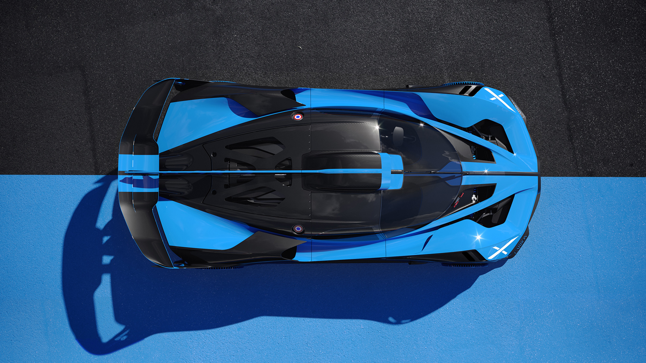 Bugatti Bolide - 2020 - top view - roof / toit - on track / sur circuit